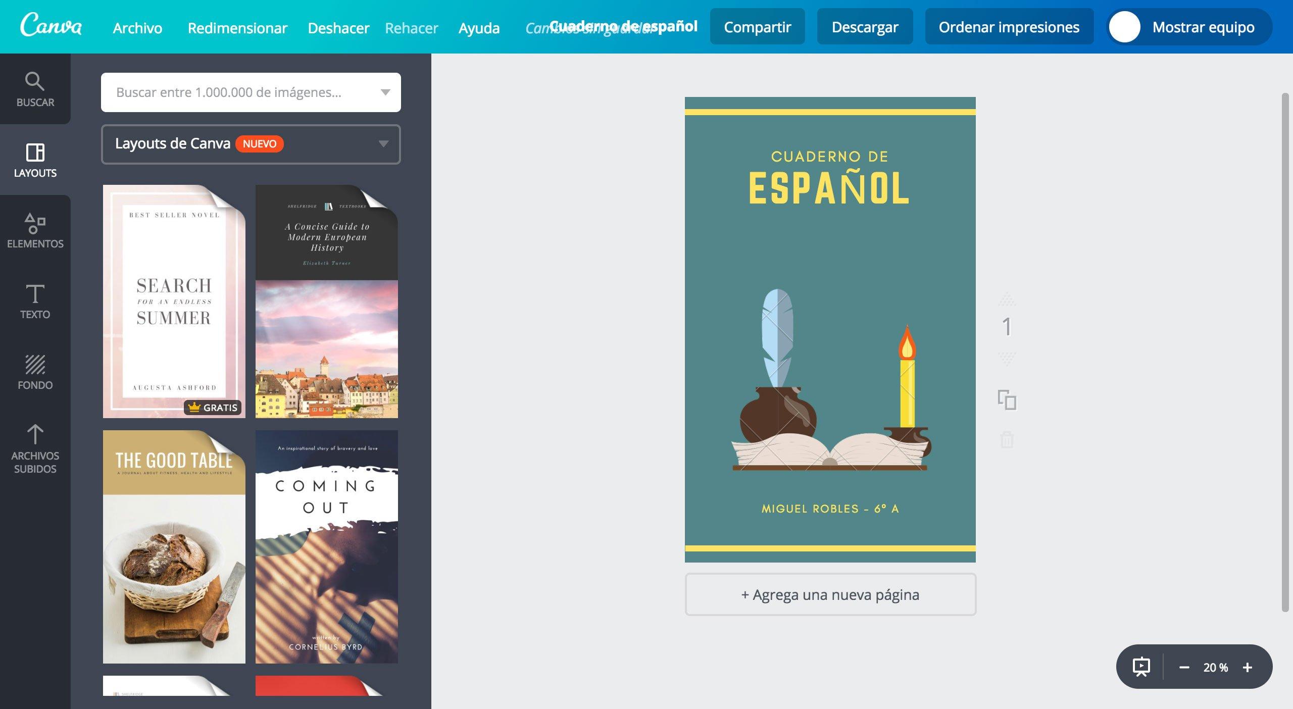 Portadas para cuaderno de español