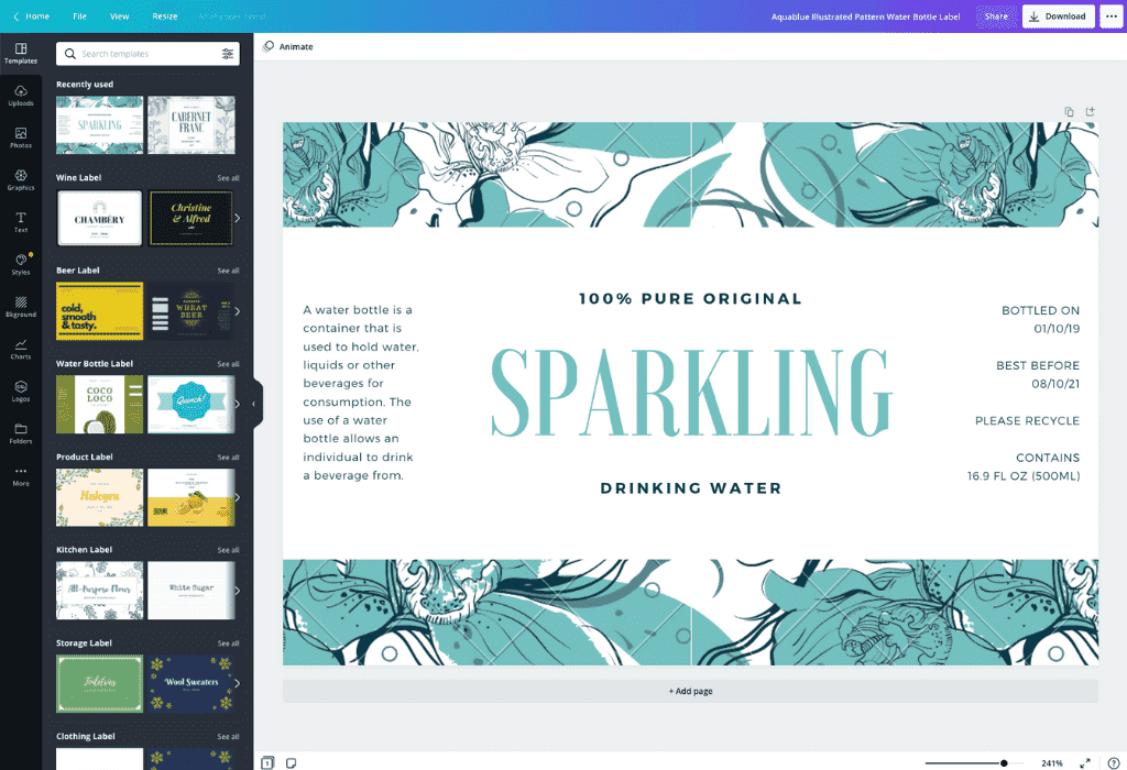 How to make a water bottle label - Canva
