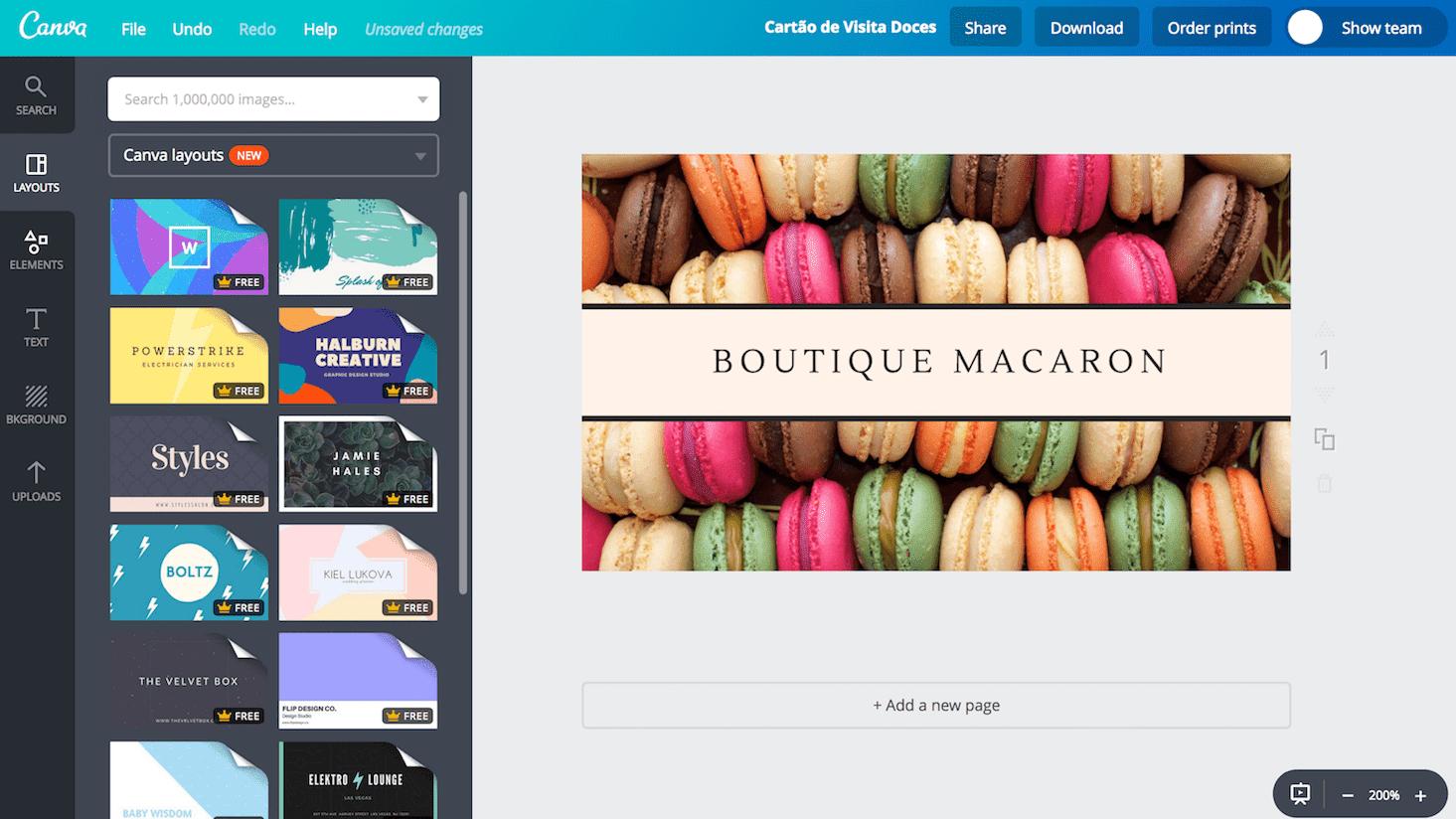 Cartão de visita para doces e bolos
