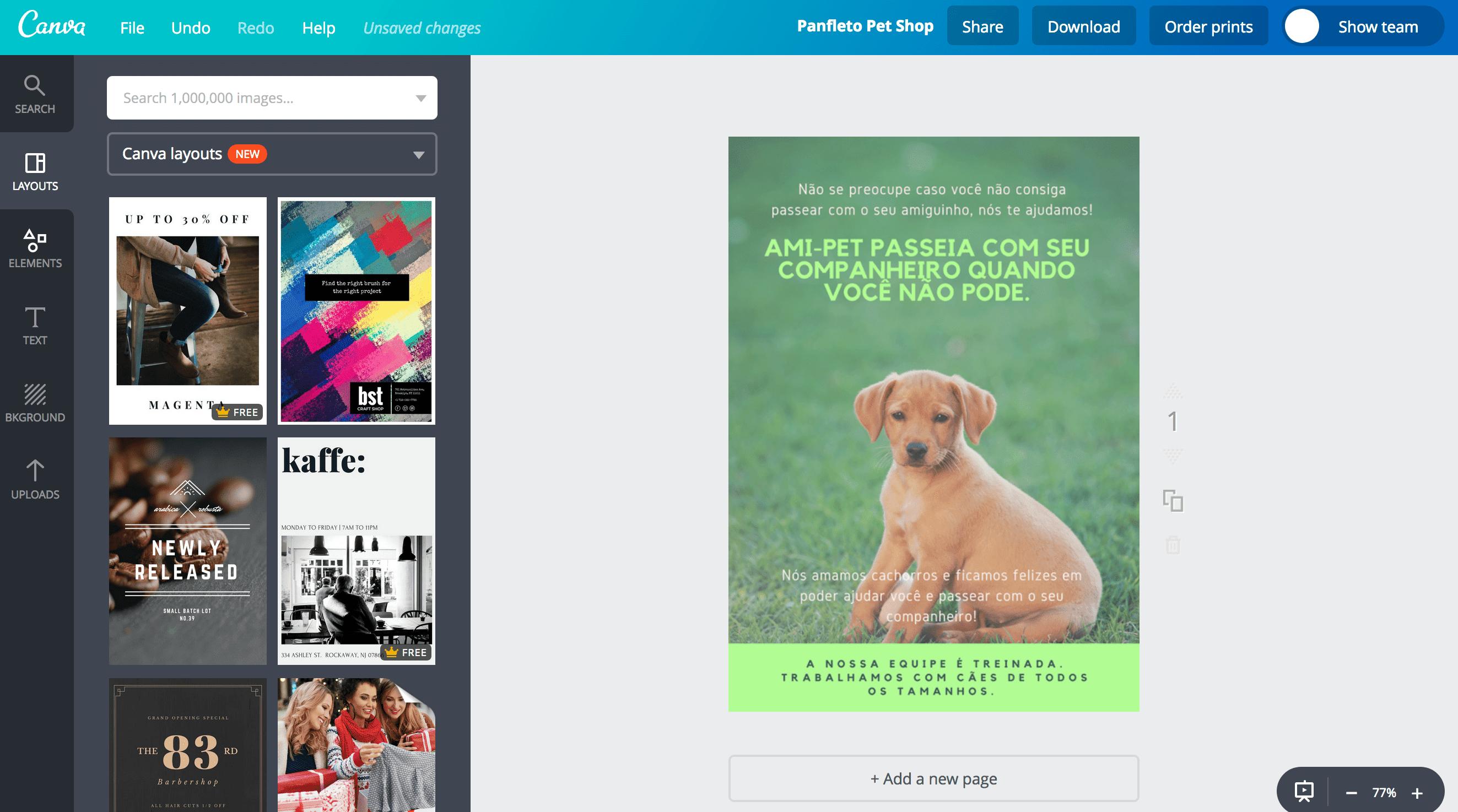 Panfleto de pet shop