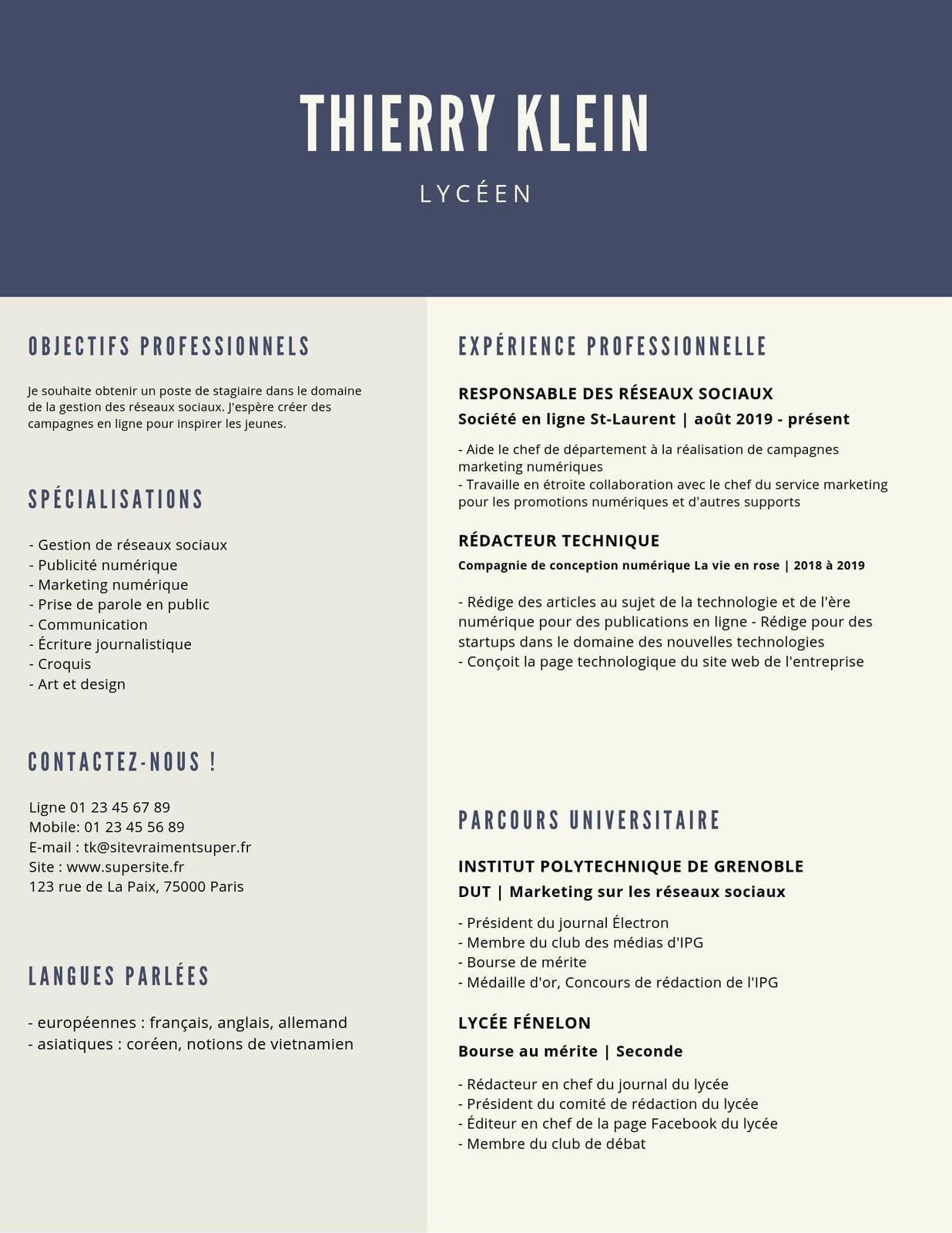 Bleu et Crème Lycée CV
