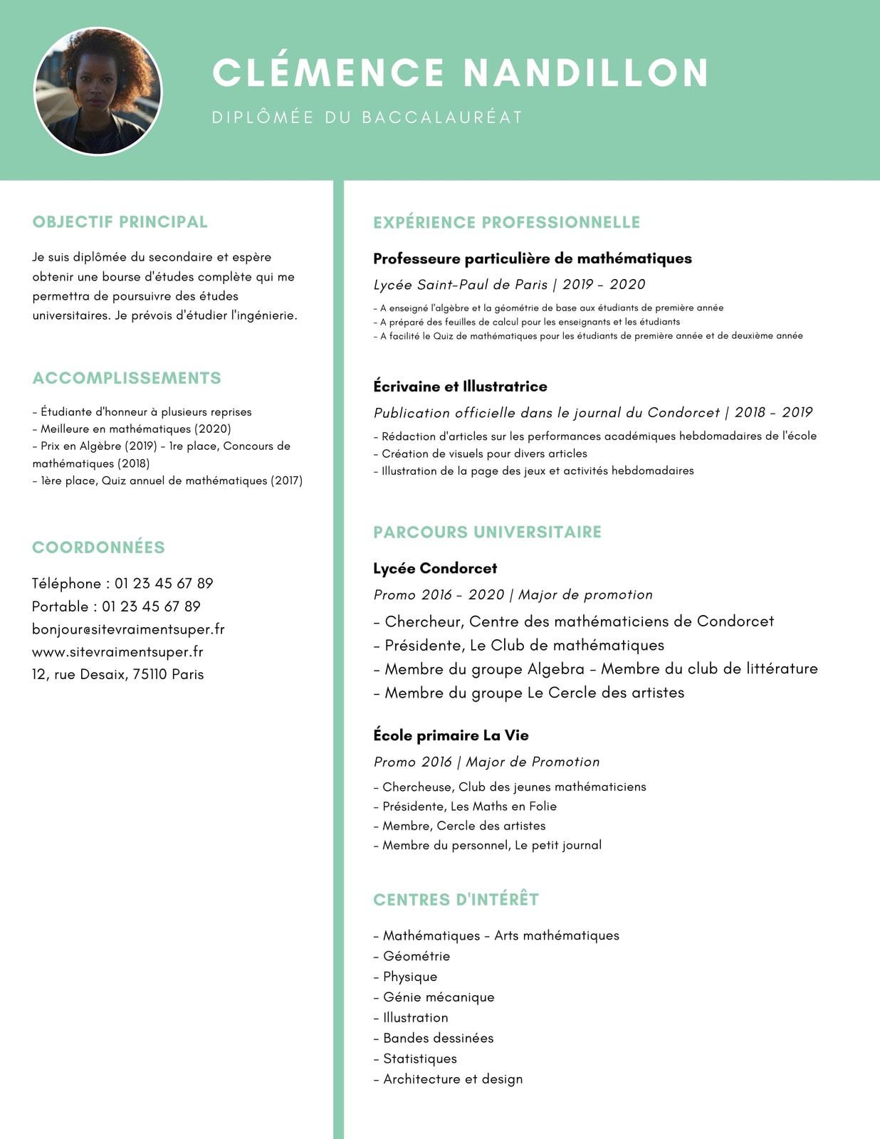 Vert Simple Lycée CV