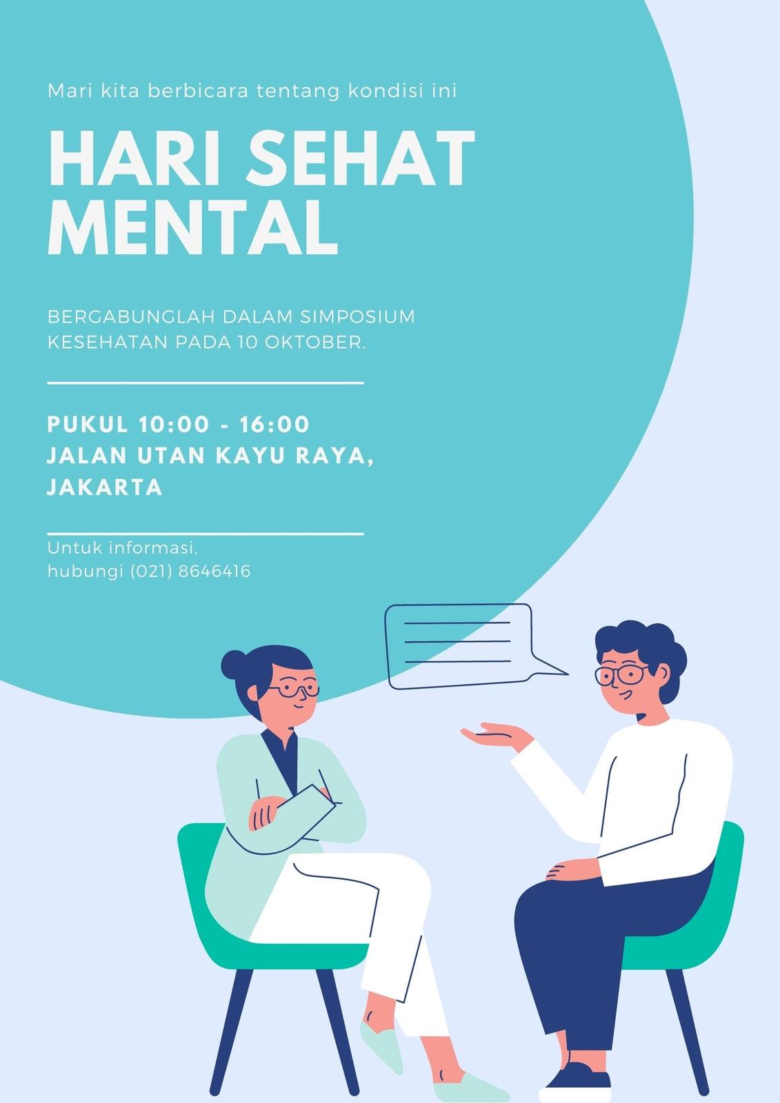 Merah & Biru Bergambar Kesehatan Mental Poster