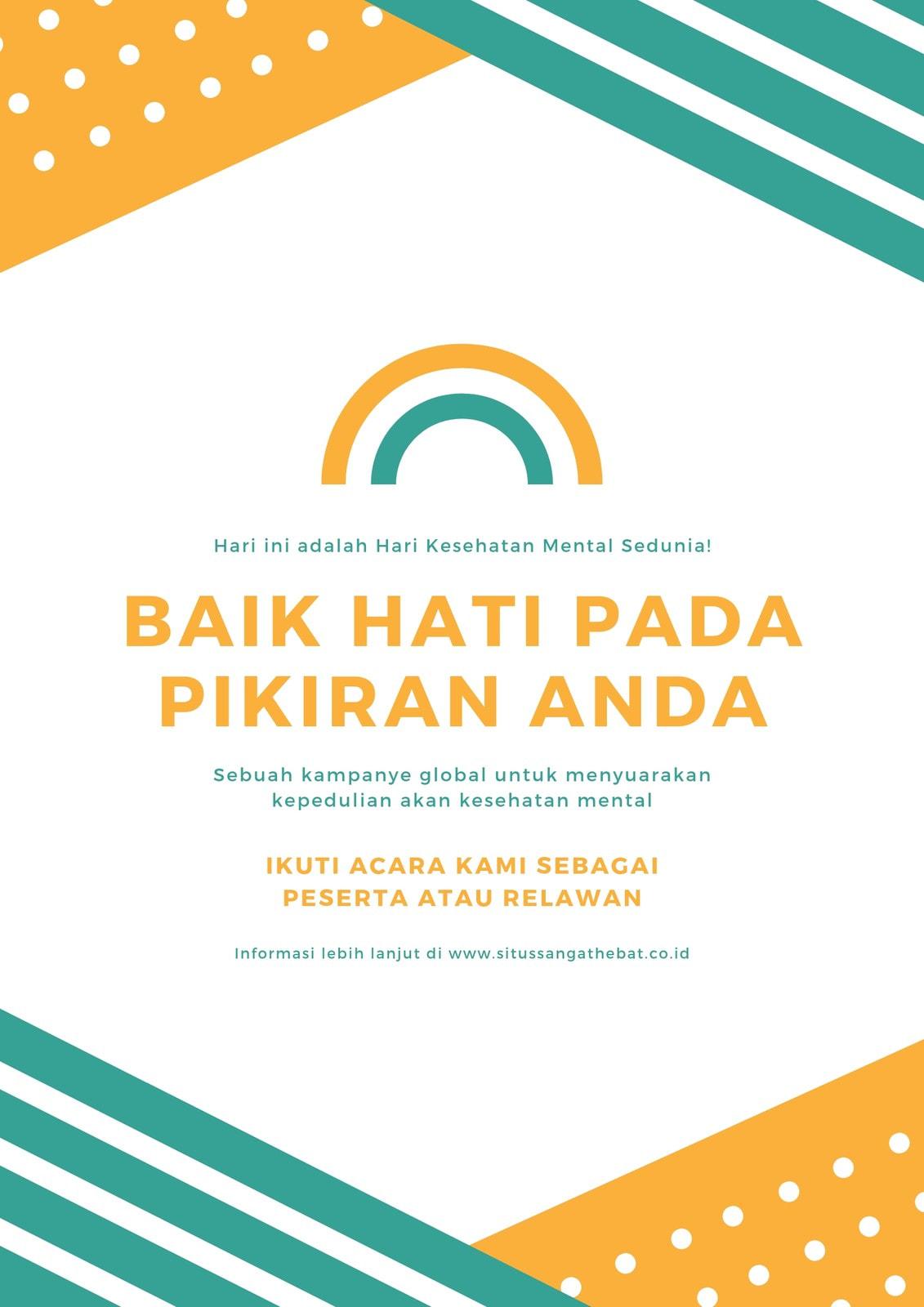 Hijau Kuning Pelangi Baik Kesehatan Mental Poster