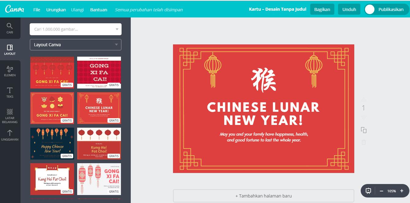 Kartu Ucapan Tahun Baru Cina