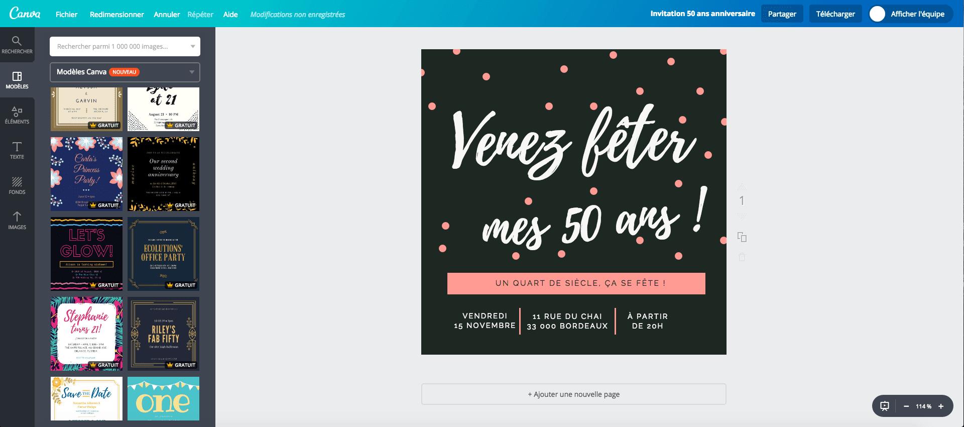 Invitation à l'anniversaire des 50 ans