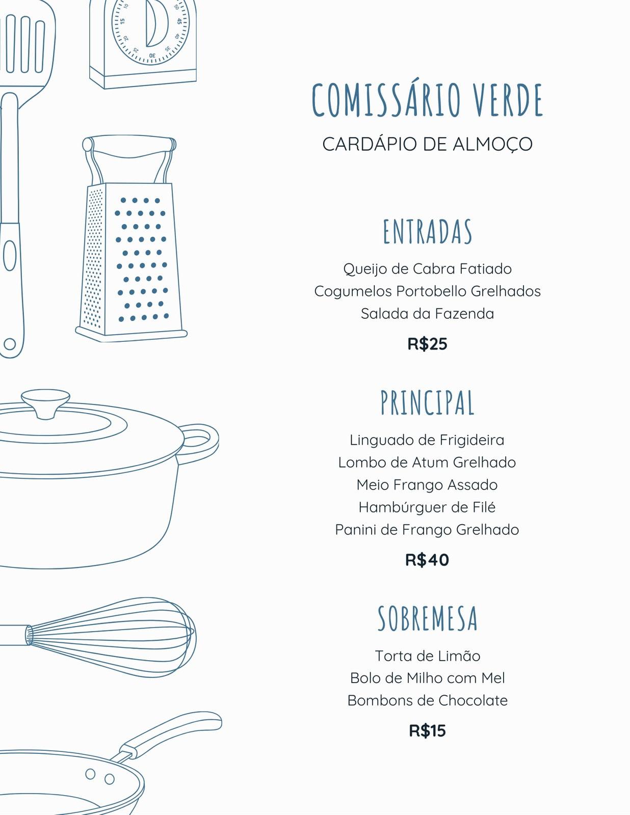 Azul Minimalista Utensílios de Cozinha Ilustração Almoço Cardápio