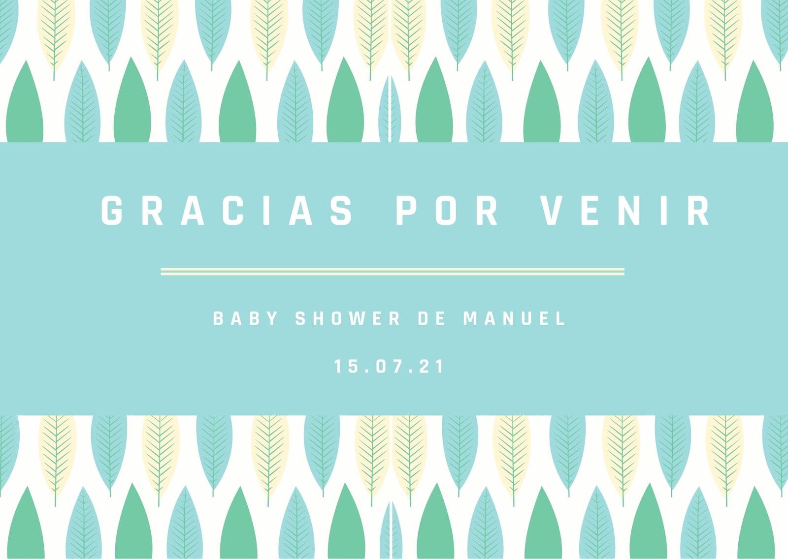 Hojas Baby Shower Tarjeta de Agradecimiento