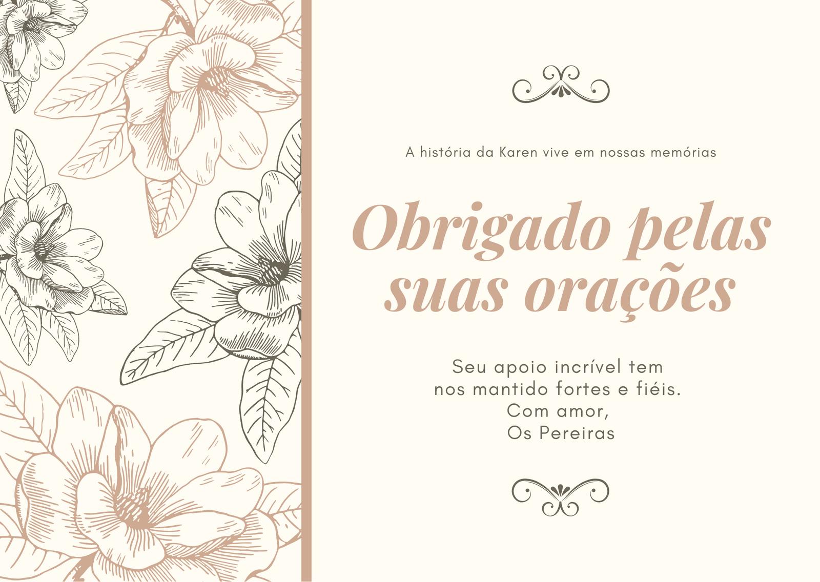 Pêssego e Floral Marrom Agradecimento de Funeral Cartão