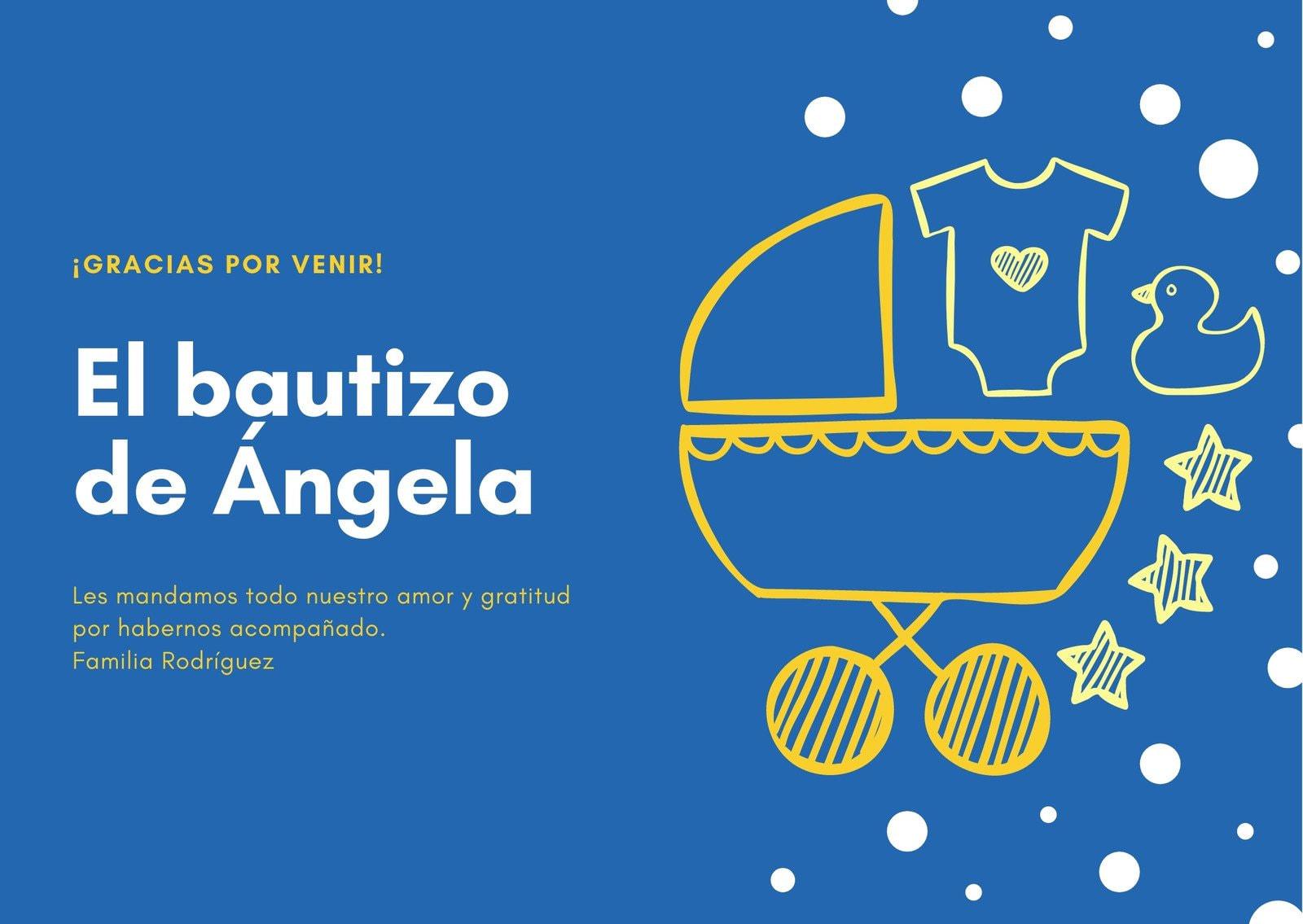 Azul Carriola Bautizo Agradecimiento Tarjeta