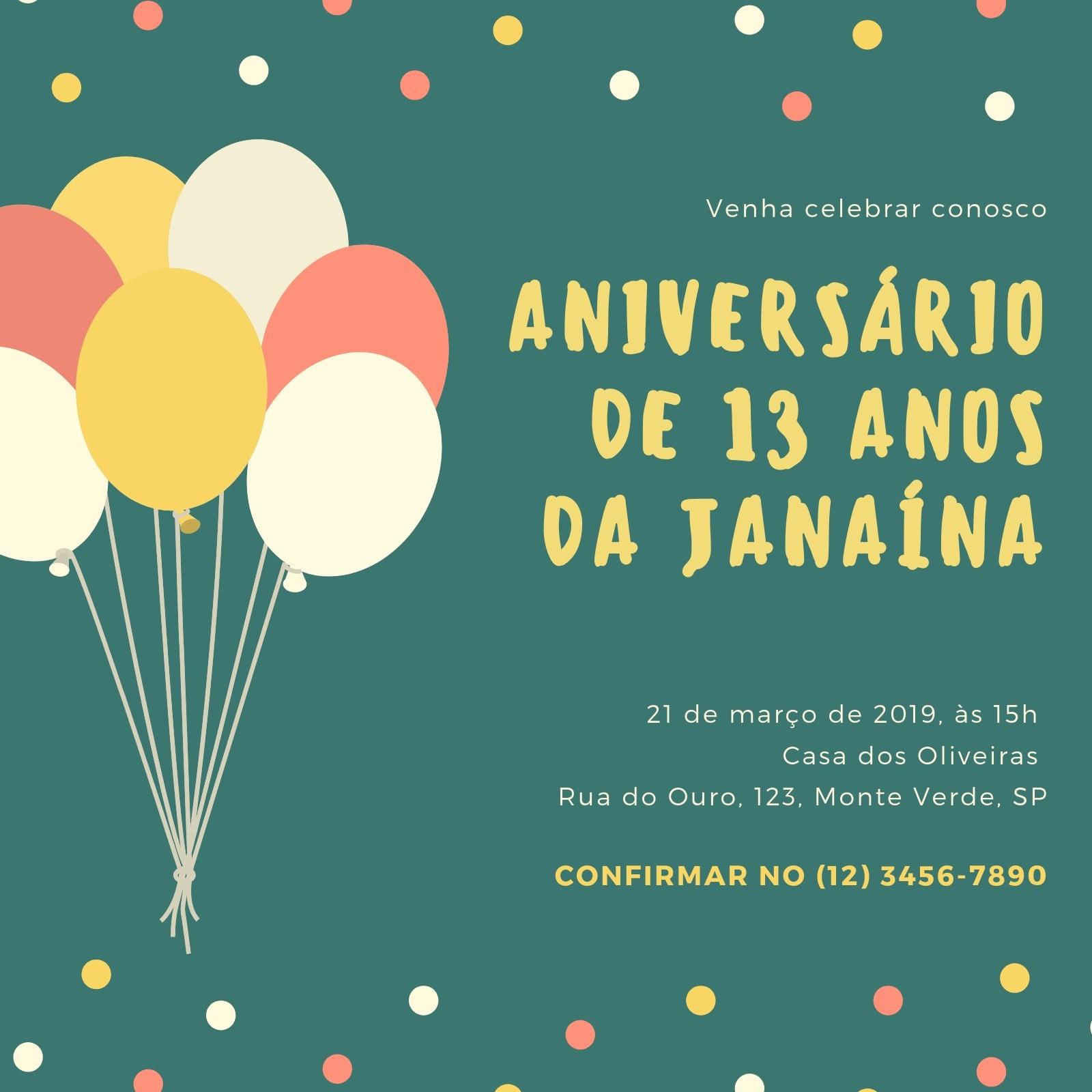 Verde Bolinhas e Balões Aniversário Convite