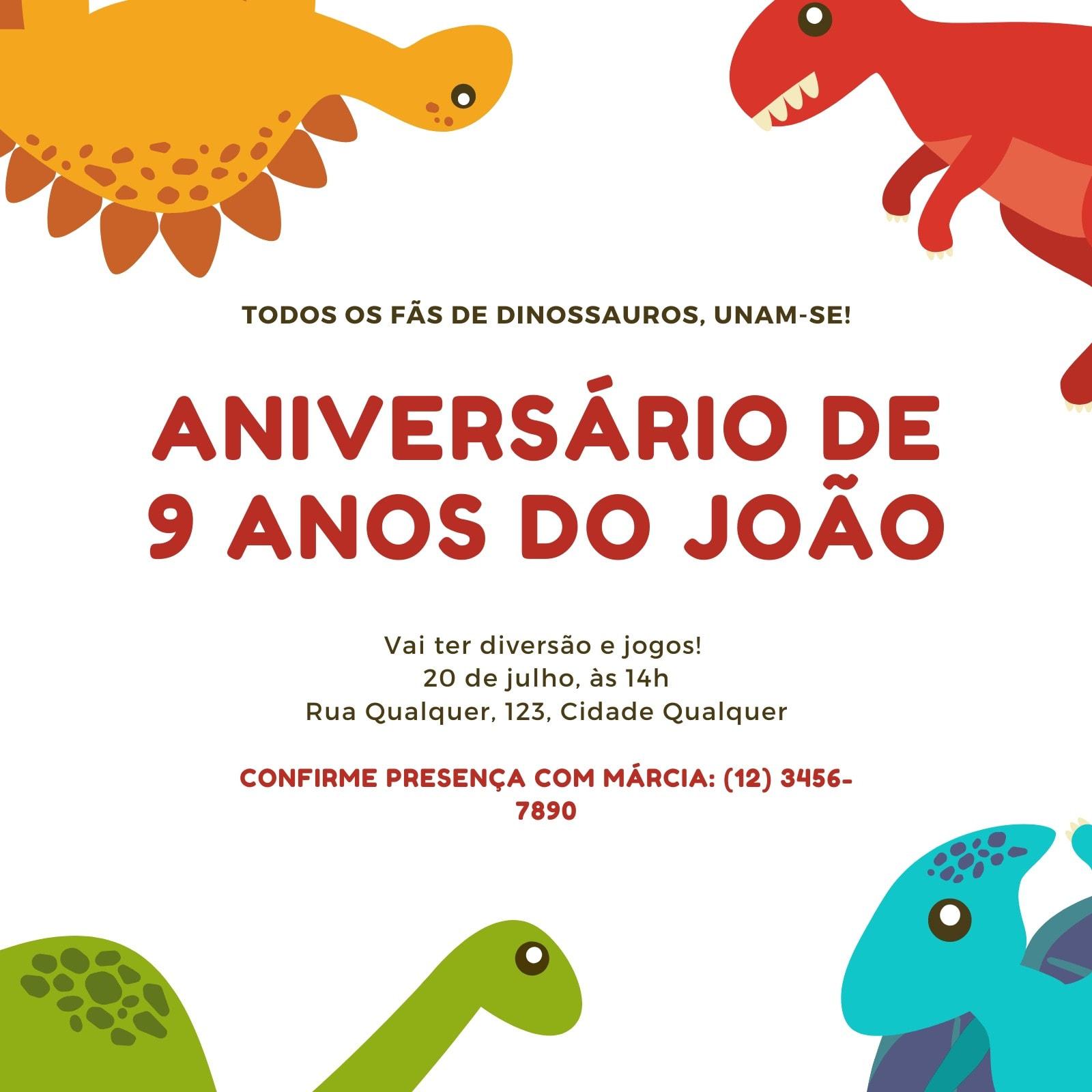 Branco e Vermelho Grunge Aniversário de Dinossauro Convite