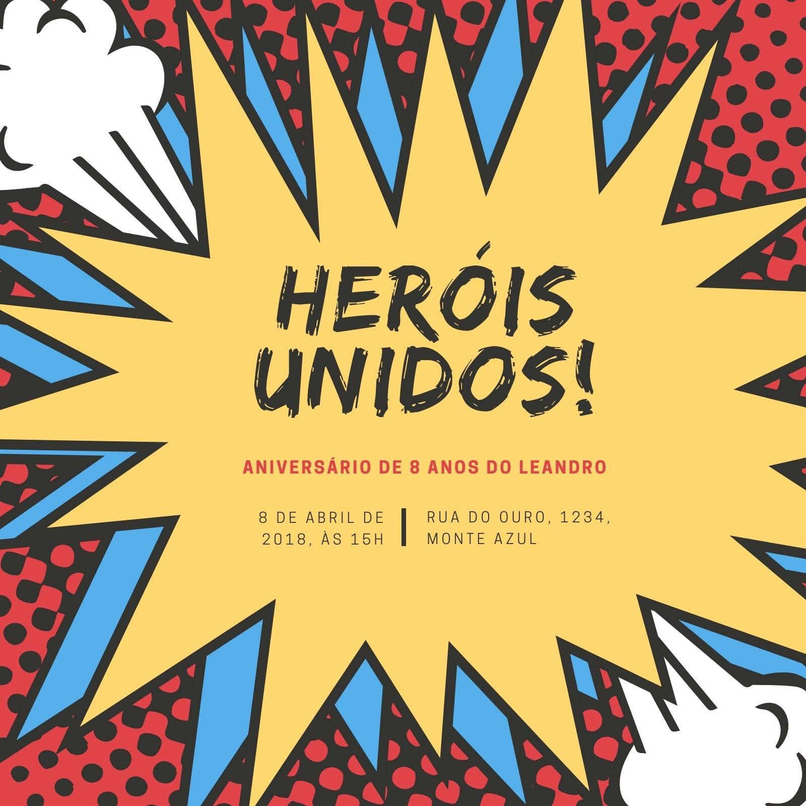Vermelho Amarelo Azul Balão de Quadrinhos Super-herói Convite
