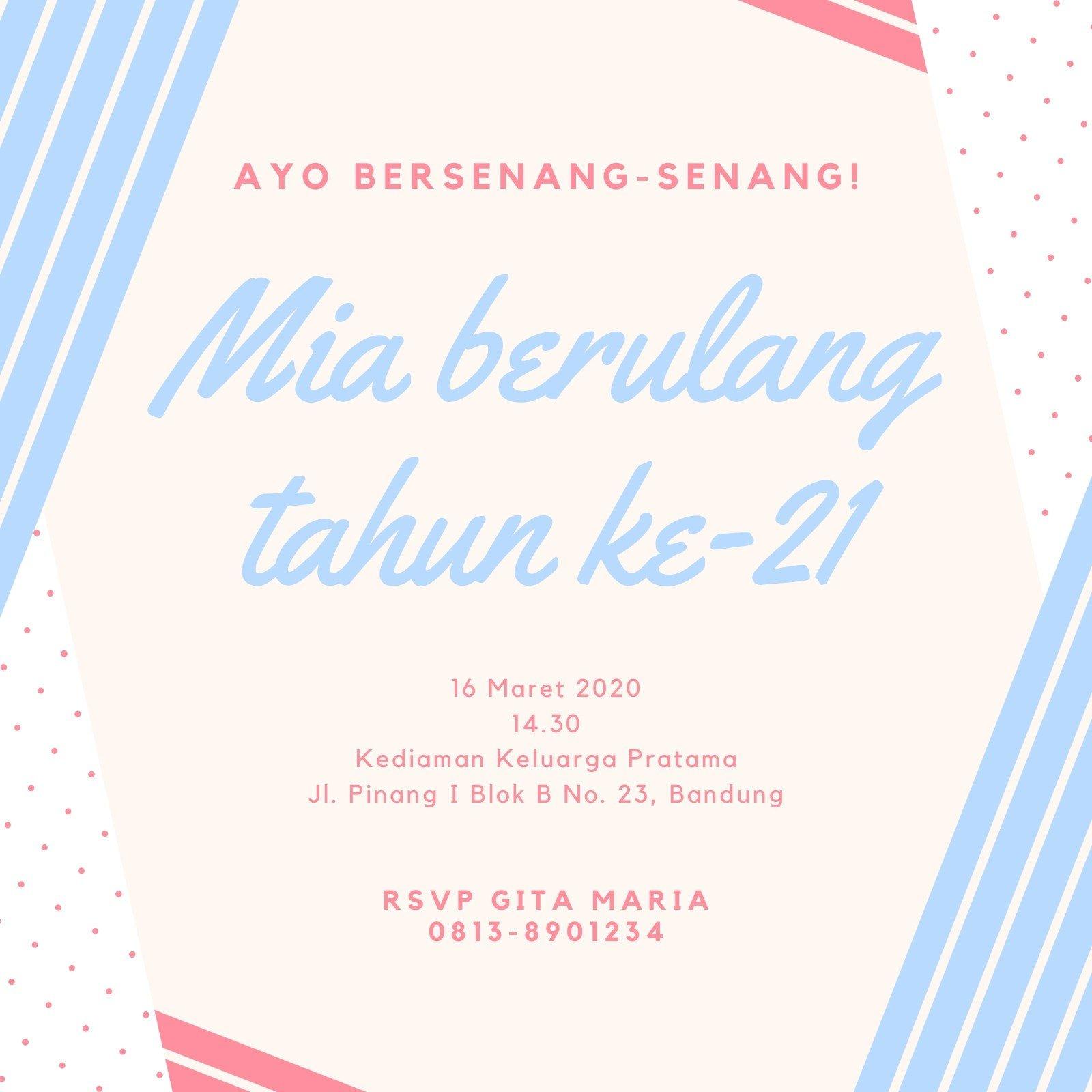 Biru Merah Muda Bentuk Ulang Tahun Ke-21 Undangan