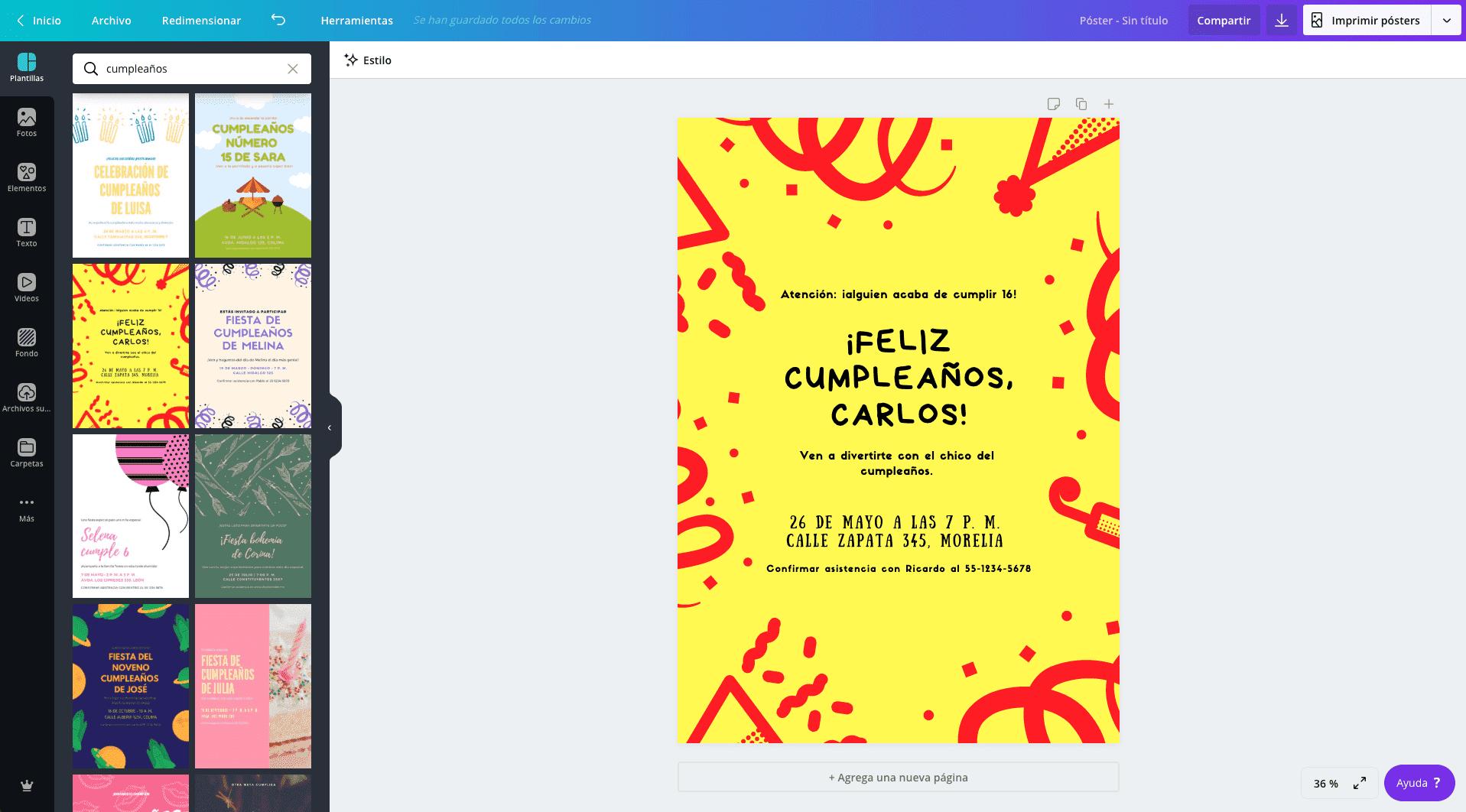Carteles de cumpleaños
