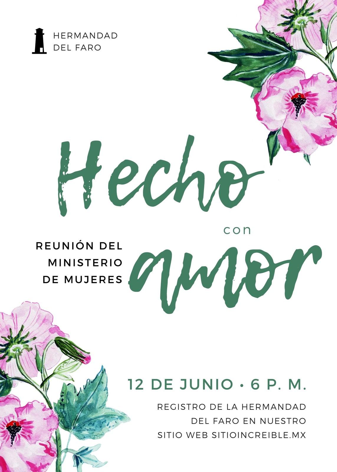 Volante de iglesia floral Hecho con amor