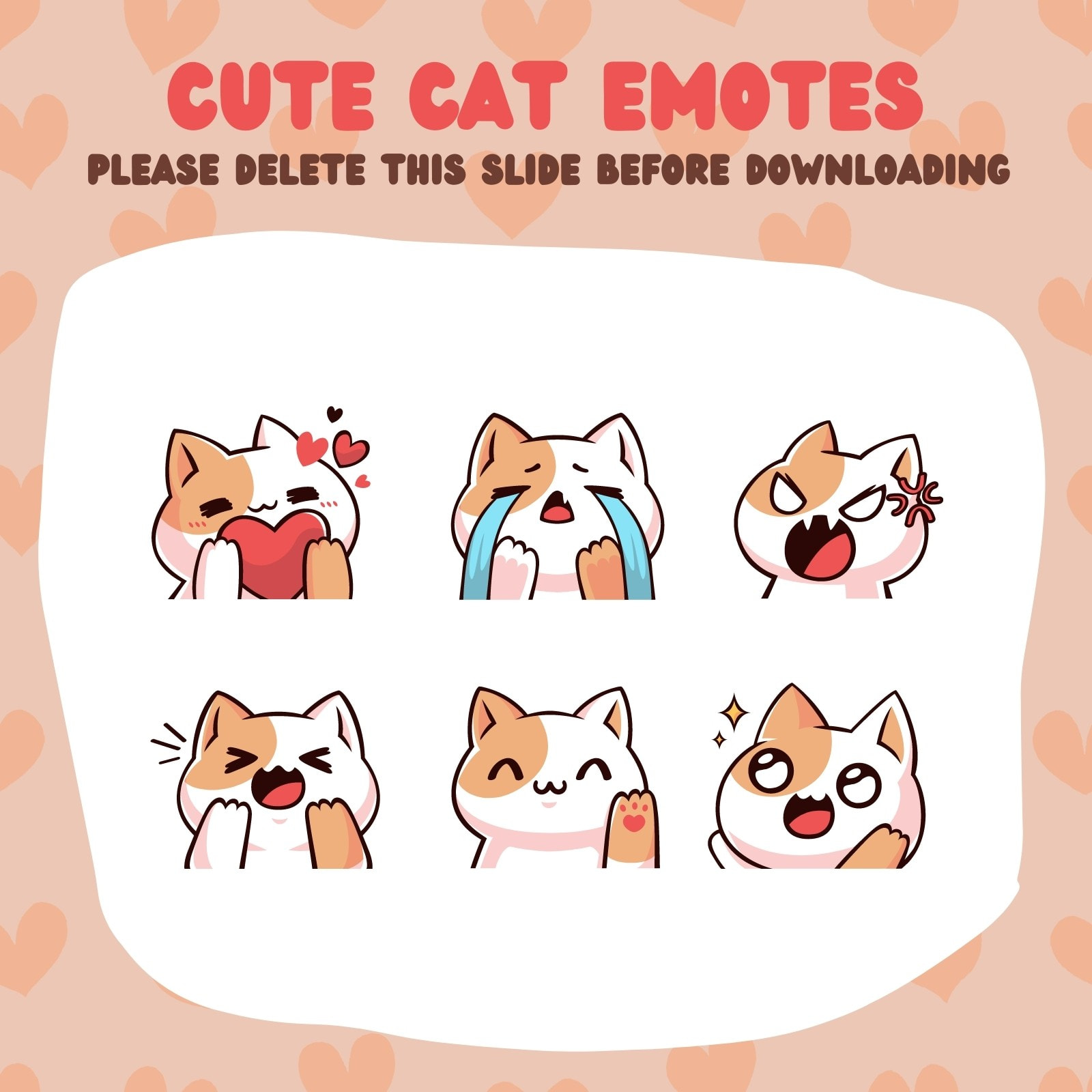 Pink and Brown Cute Cat Twitch Emote