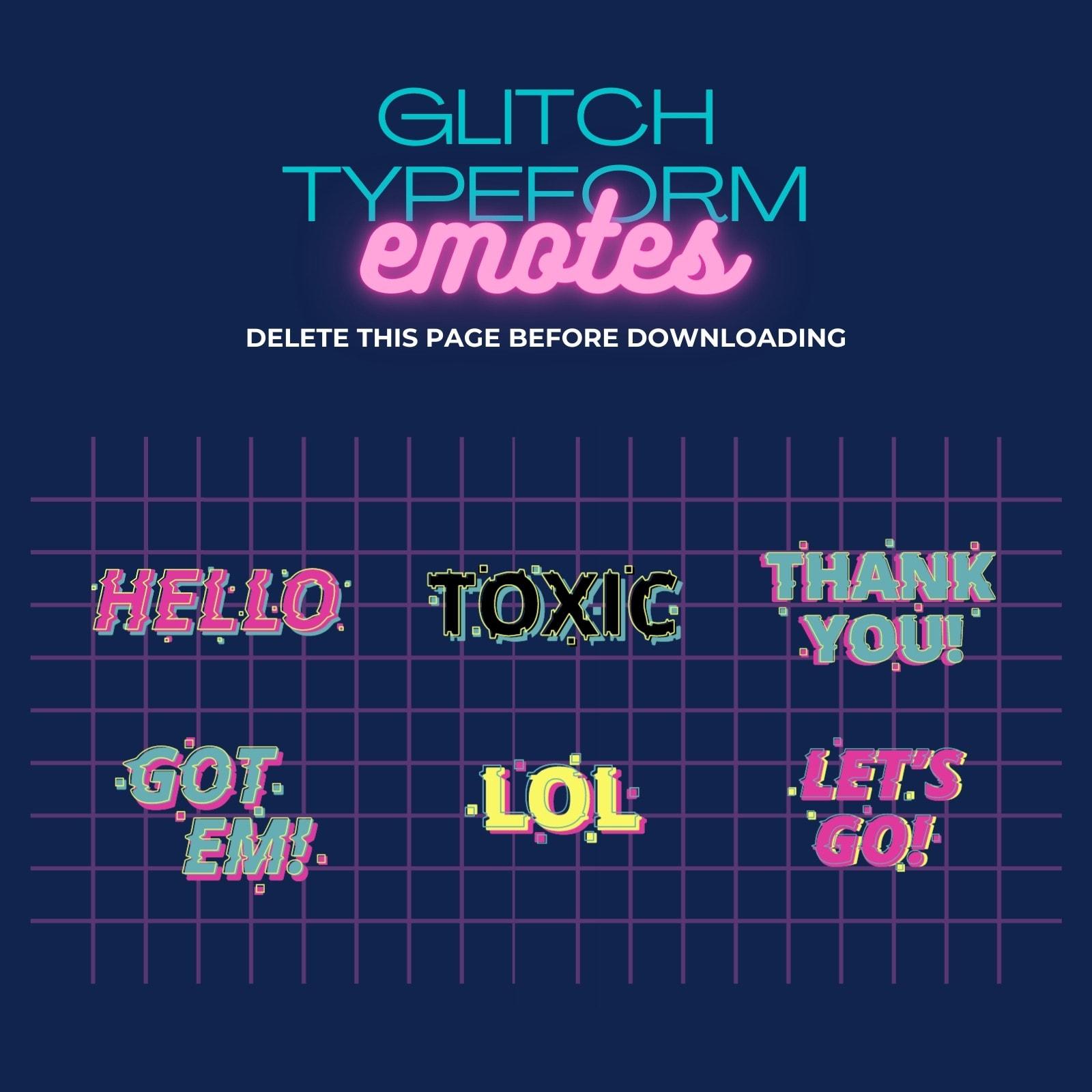Pink Teal and Yellow Vintage Retro Glitch Typeform Twitch Emote