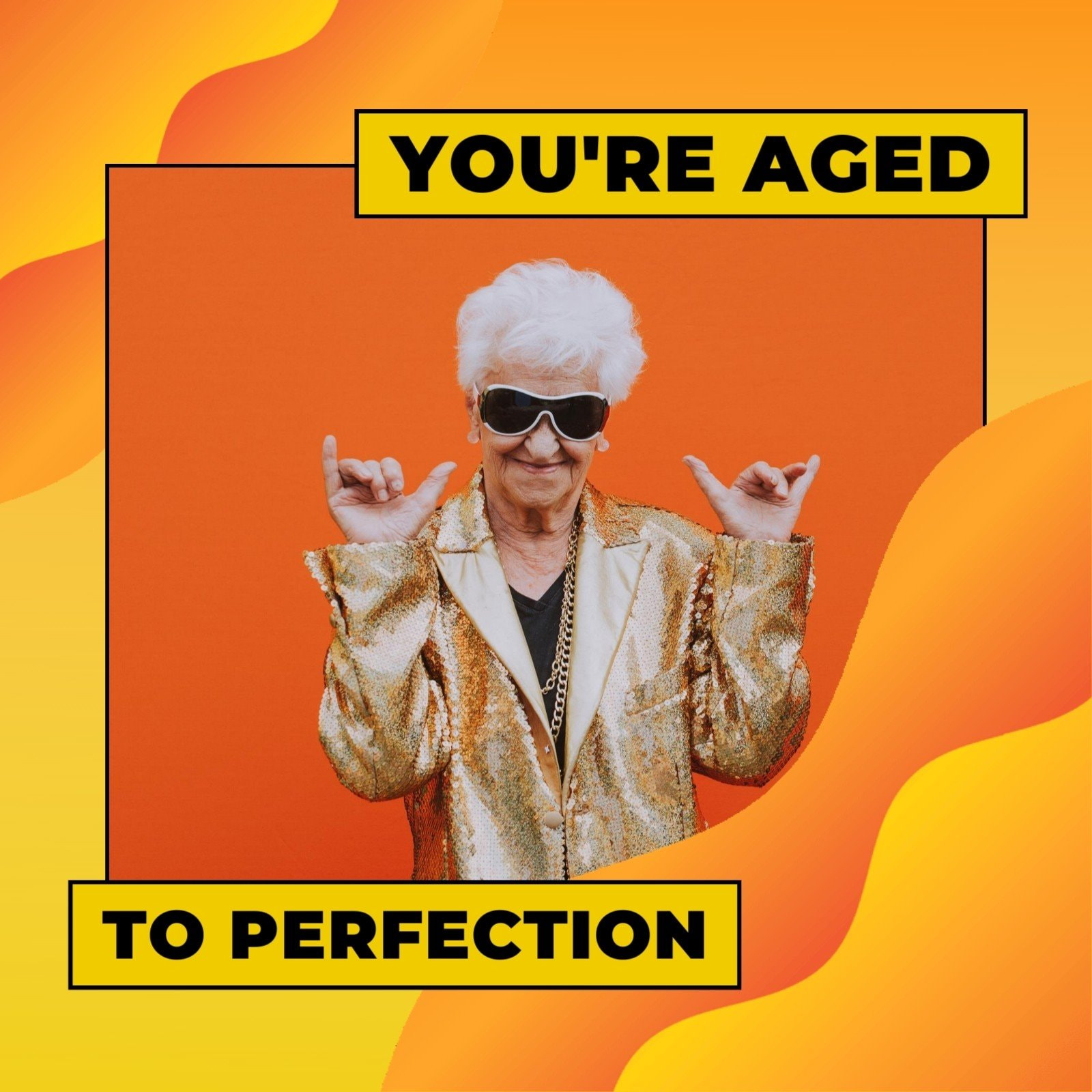 Orange Wave Old Woman Hip & Vibrant General Greeting Animated Birthday Social Media Graphic