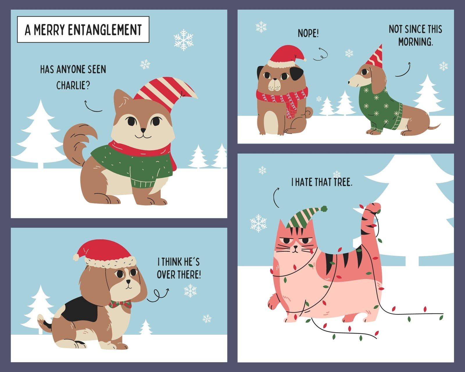 Blue and Red Christmas Animal 4 Panel Comic Strip