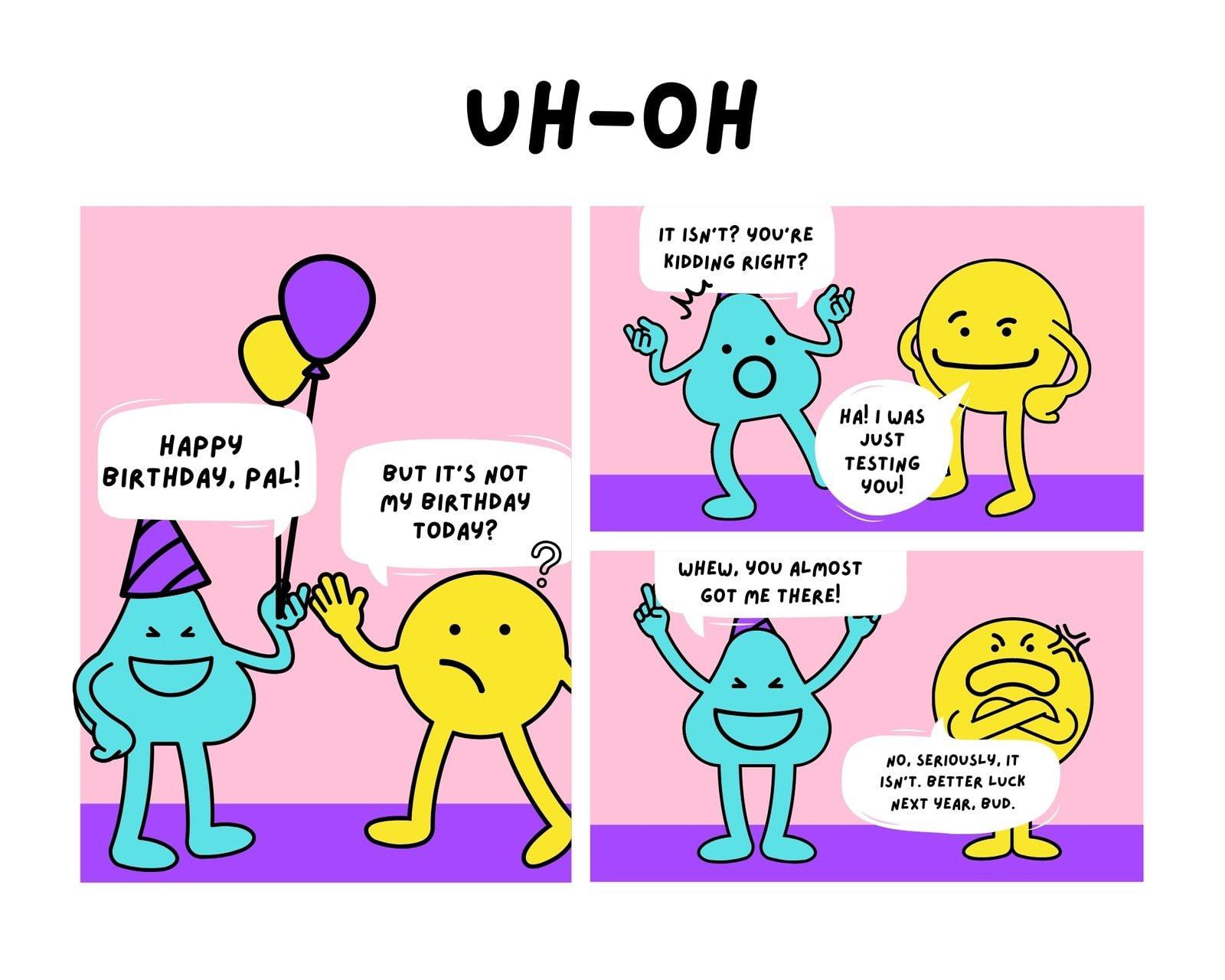 Pink and Purple Blobs Birthday 3 Panel Comic Strip