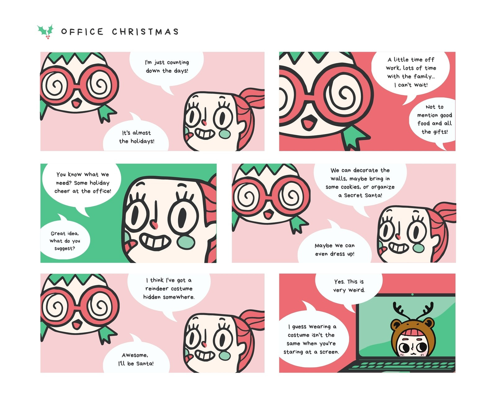 Red and Green Office Christmas 6 Panel Comic Strip