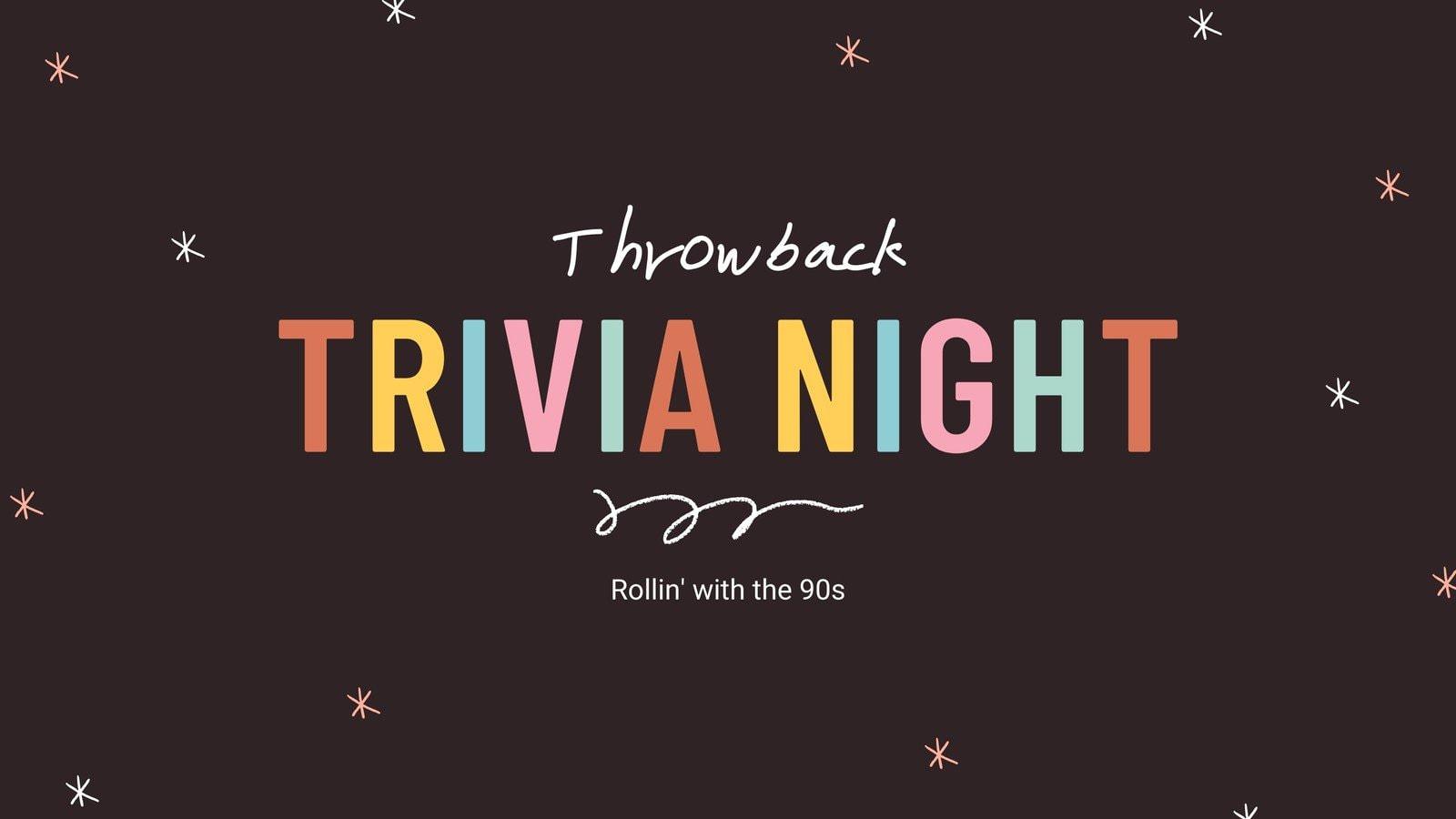 Pink Cute Chic Vintage 90s Virtual Trivia Quiz Video Presentations