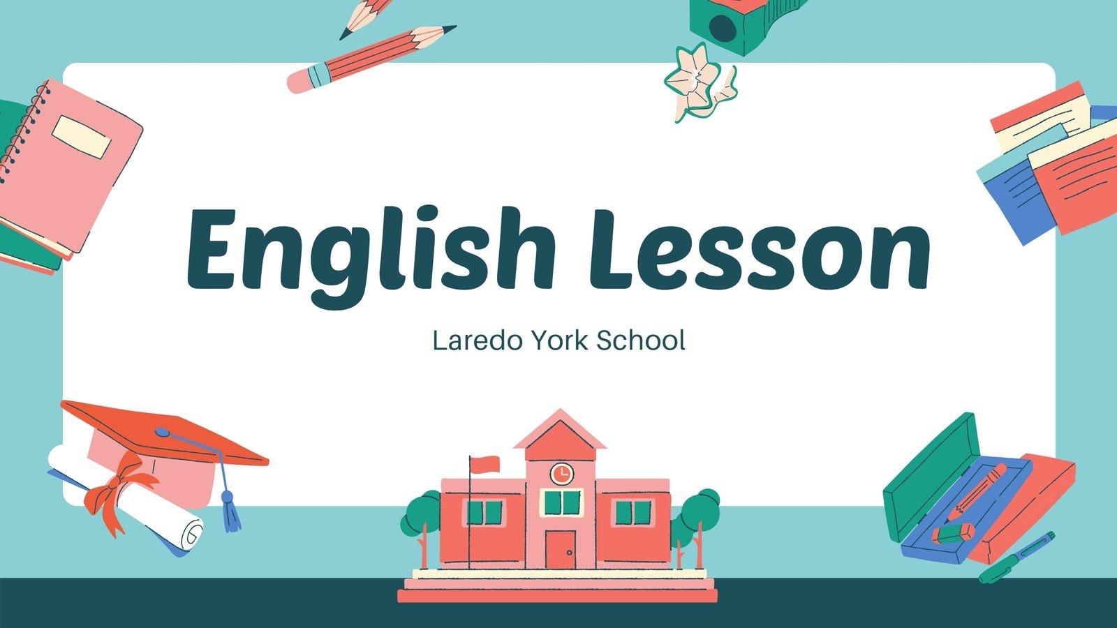 Peach and Blue Illustration English Class Education Video Presentation