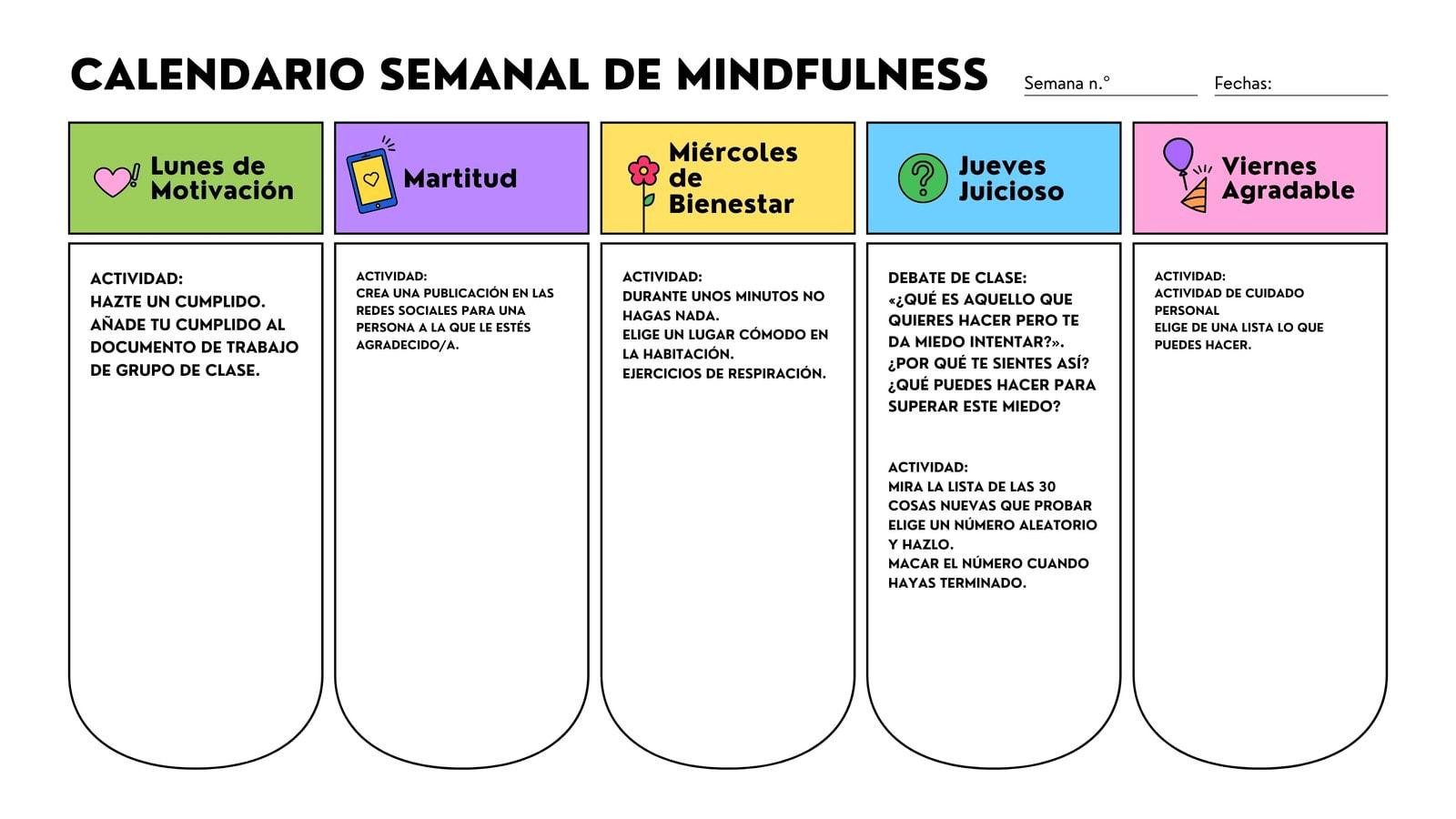 Blanco Colorido Plano Mindfulness Consciencia Social y Emocional Aprendizaje Planificación Lección Clase Semanal Calendario