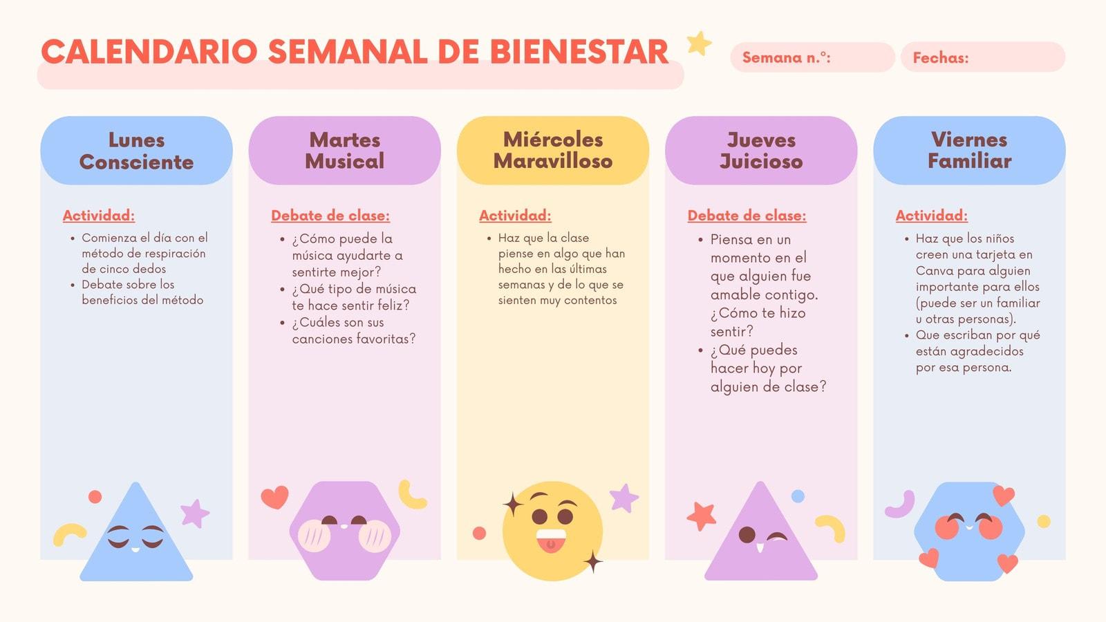 Naranja Colorido Plano Formas Geométricas Bienestar Social y Emocional Aprendizaje Planificación Lección Clase Semanal Calendario