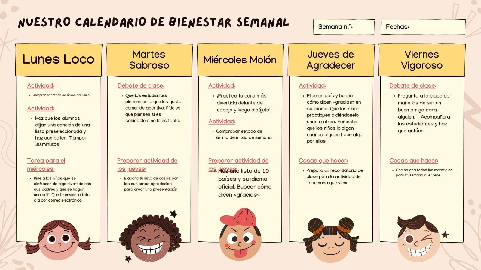 Rosa Amarillo Dibujado a Mano Bienestar Social y Emocional Aprendizaje Semanal Calendario de Plan de Clase