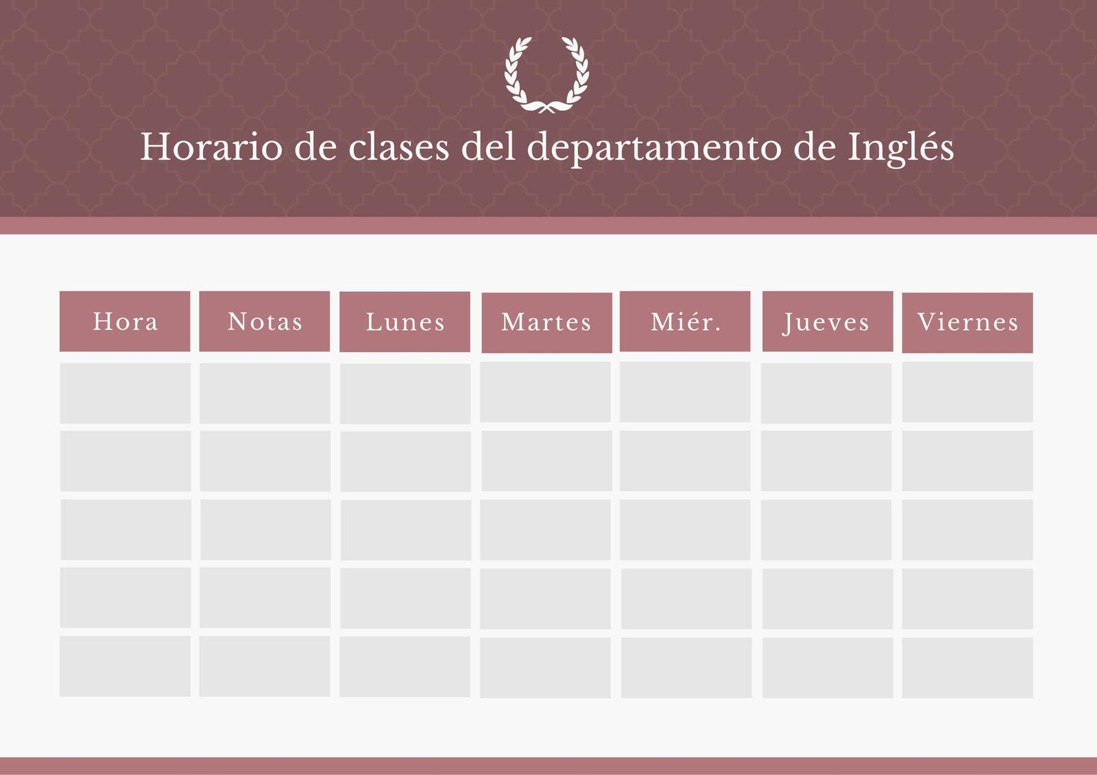 Bordó y Blanco Elegante Patrón Horario de Clase