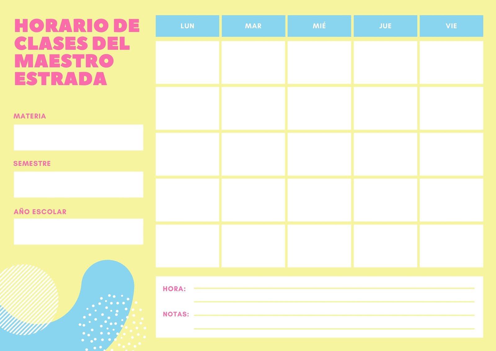 Amarillo Rosa y Azul Formas Horario de Clase