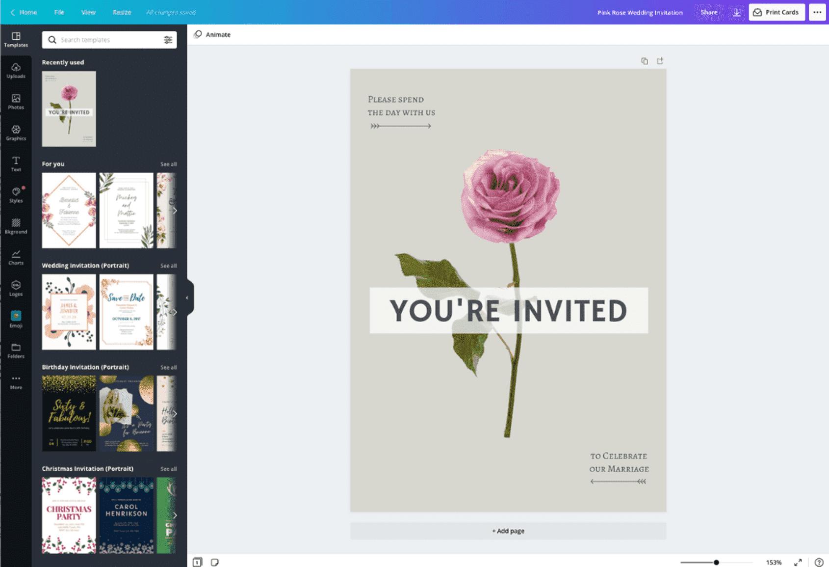 結婚式招待状の作成イメージ