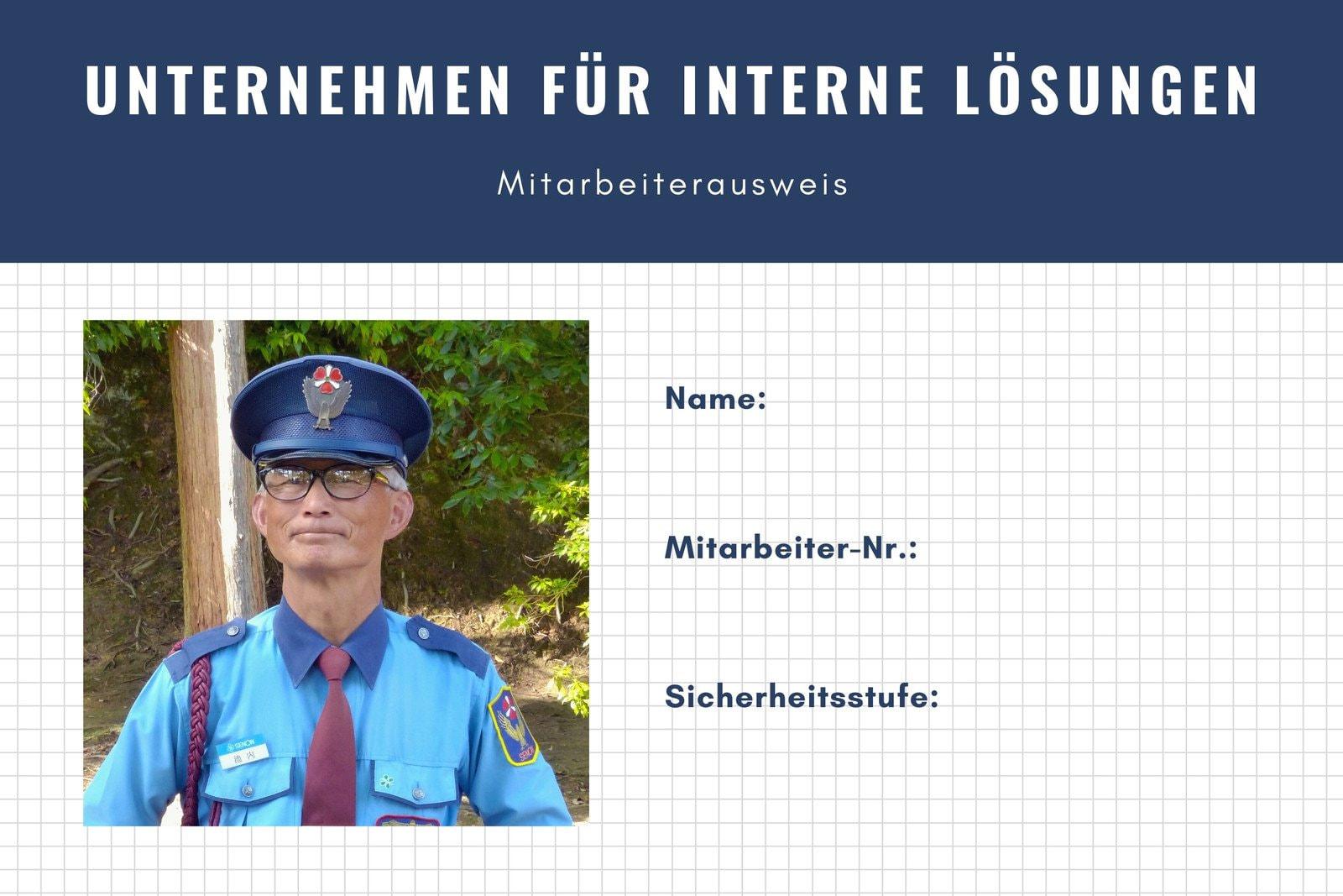 Weiß Blau Foto Einfach Sicherheits-ID Ausweis