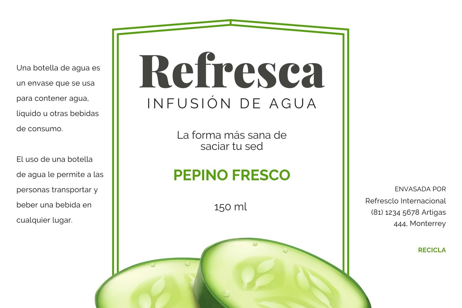 Verde Pepino Botella de Agua Etiqueta