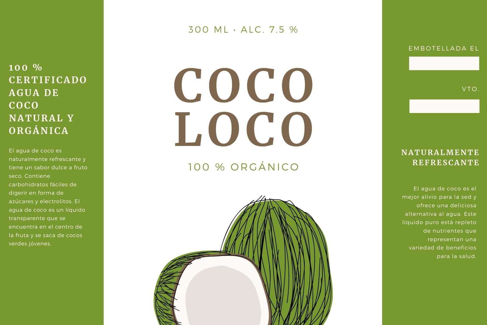 Verde y Marrón Coco Botella de Agua Etiqueta