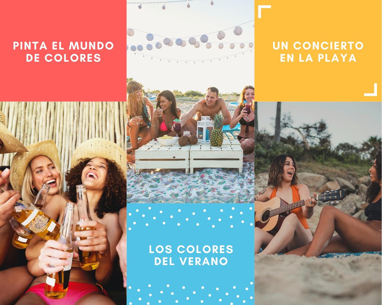Colorido Geométrico Elementos Actividades Verano Foto Collage