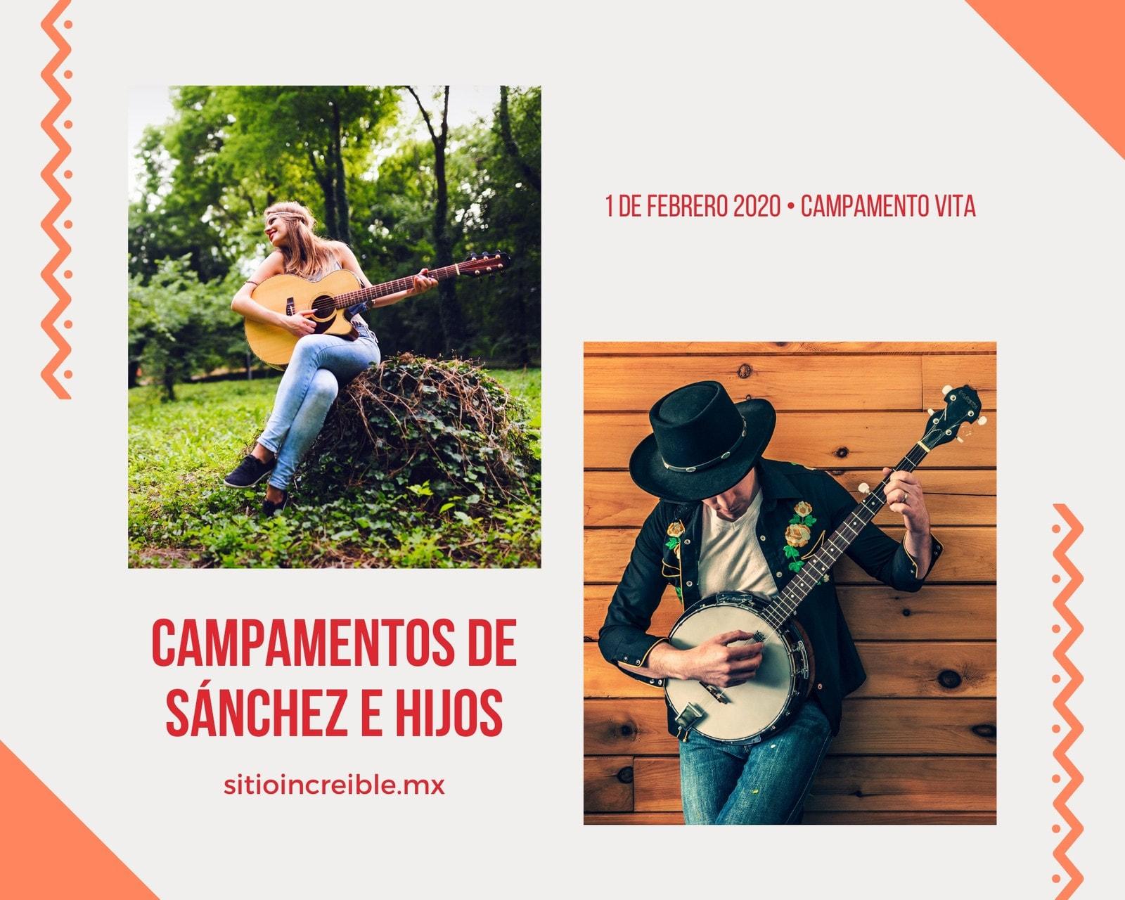 Naranja Sesiones Música Collage de Fotos