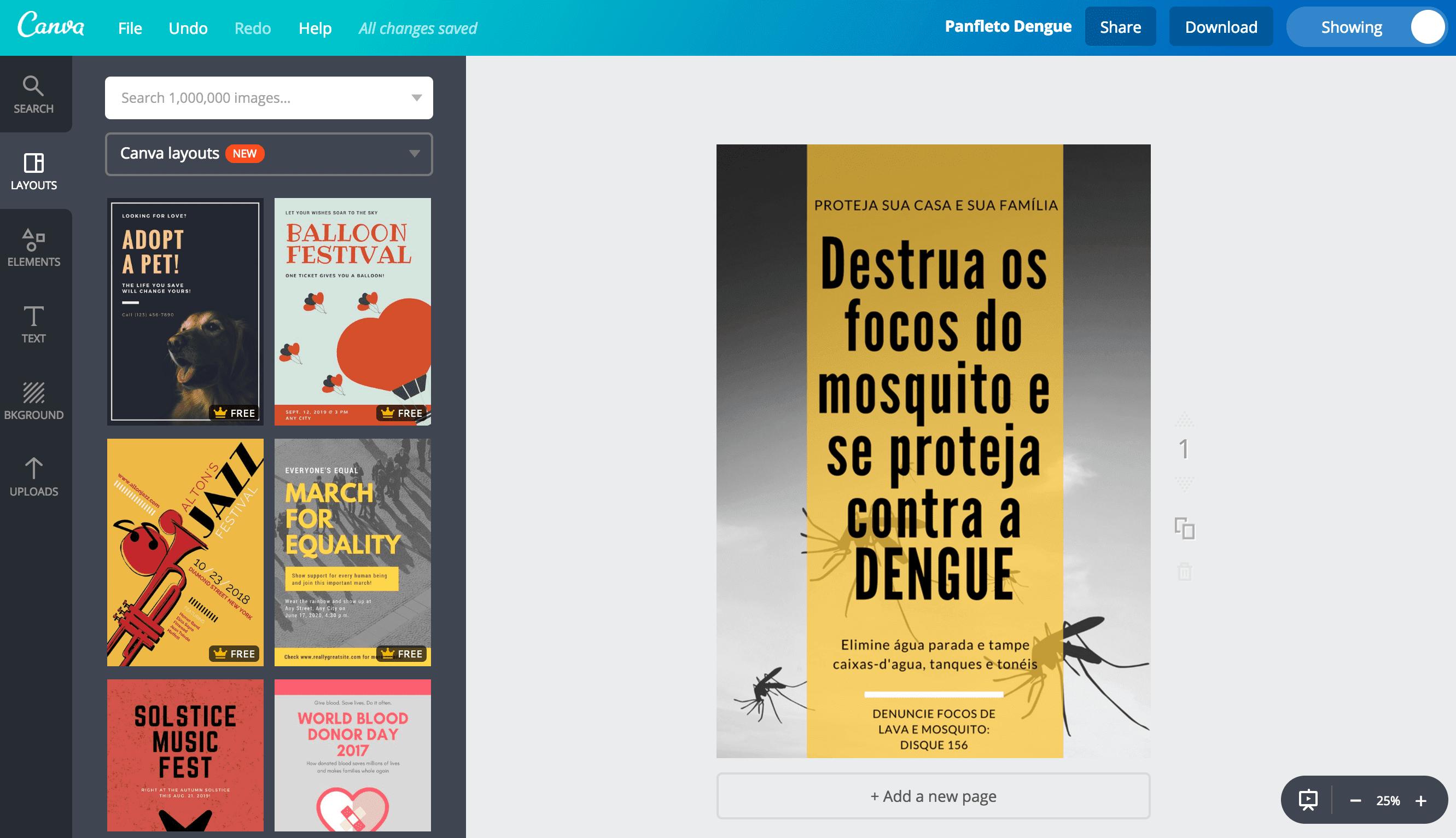 Panfletos sobre a dengue