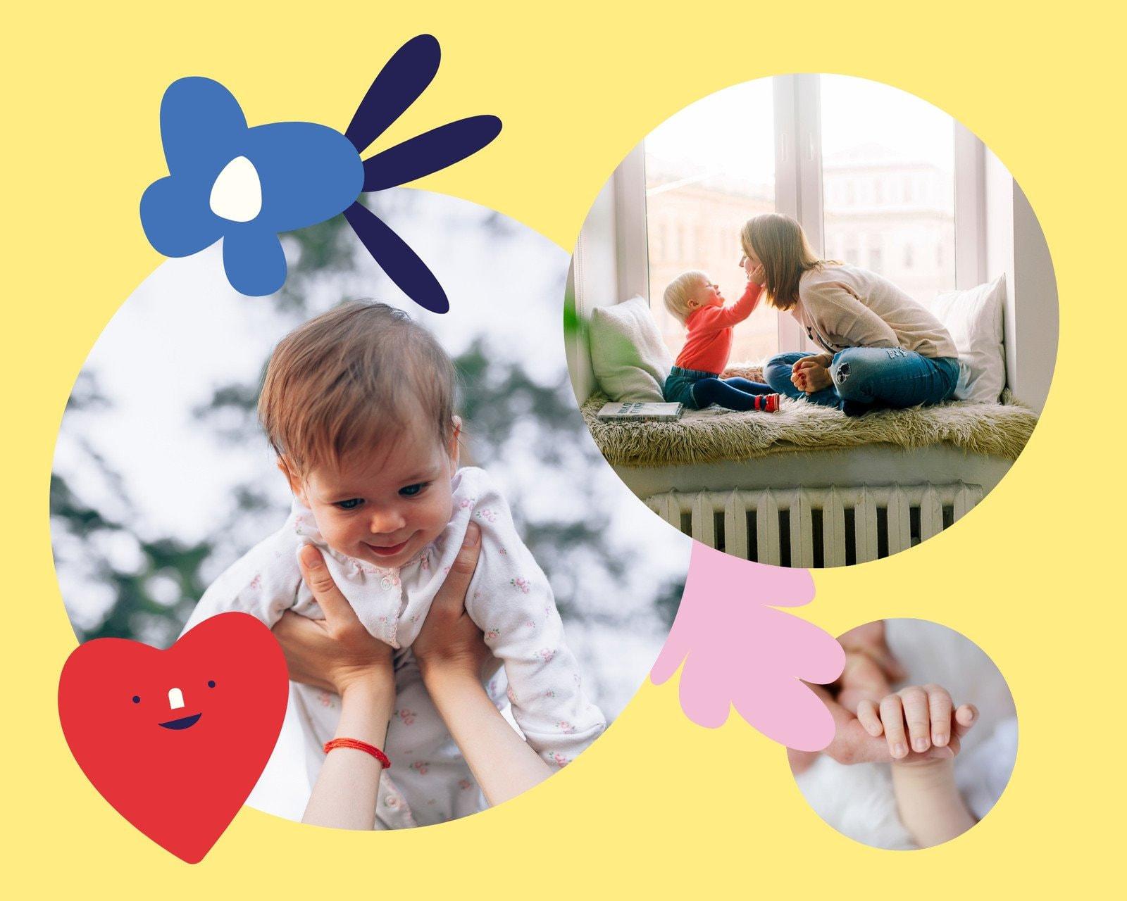 Разноцветный и Милый Круговая Рамка Малыш Фотоколлаж