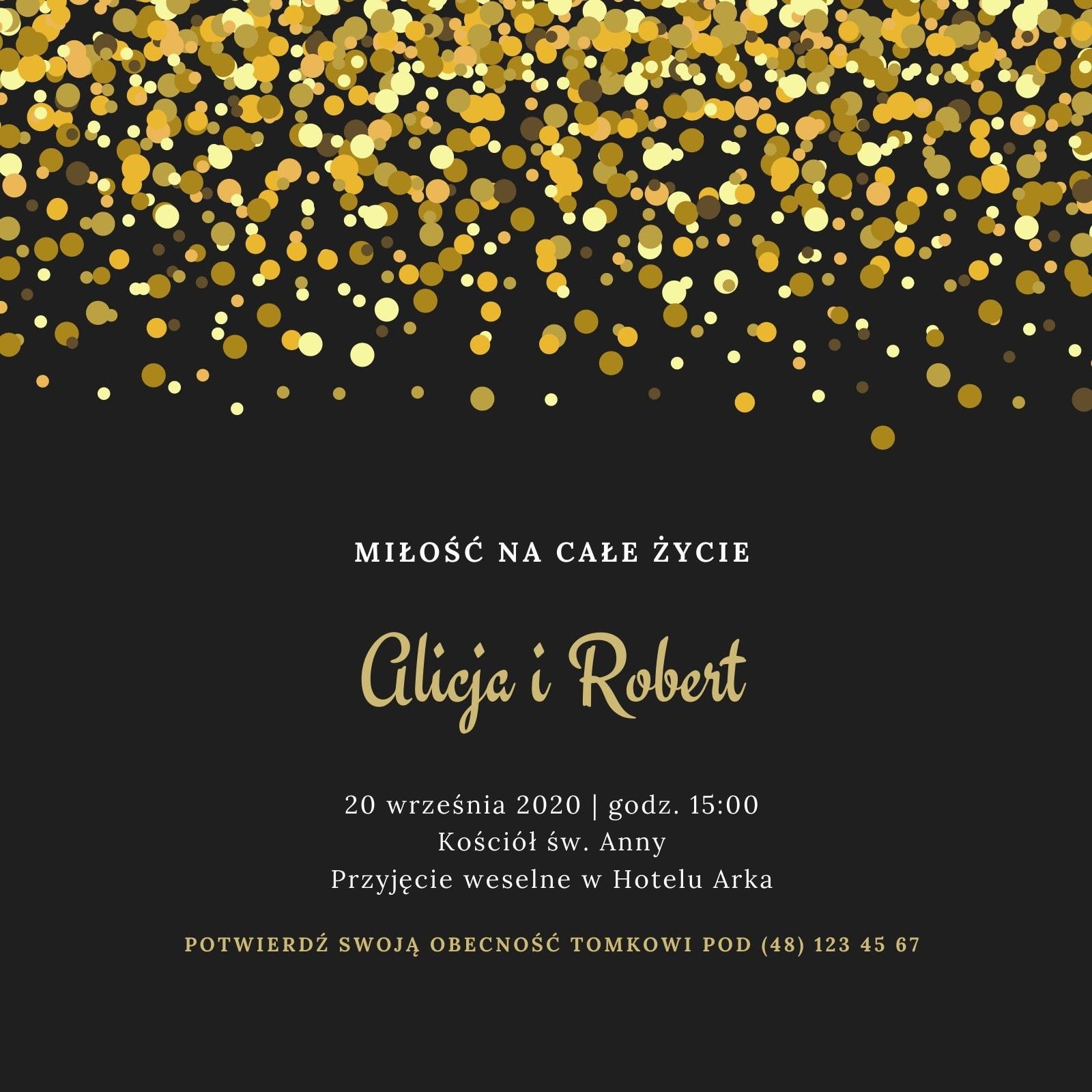 Złote i Czarne Kropki Klasyczne Ślub Zaproszenie
