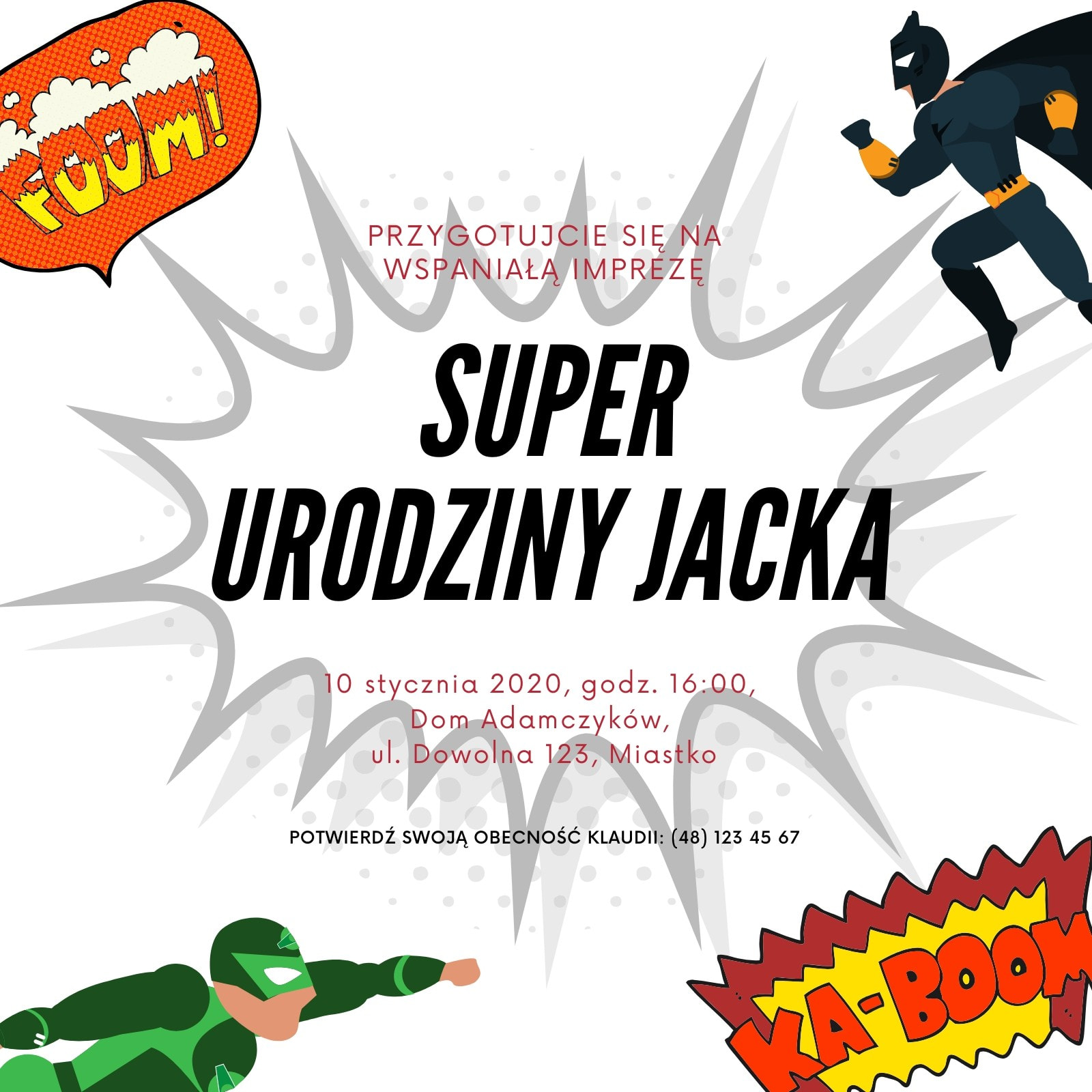 Białe Ilustracja Superbohater Zaproszenie