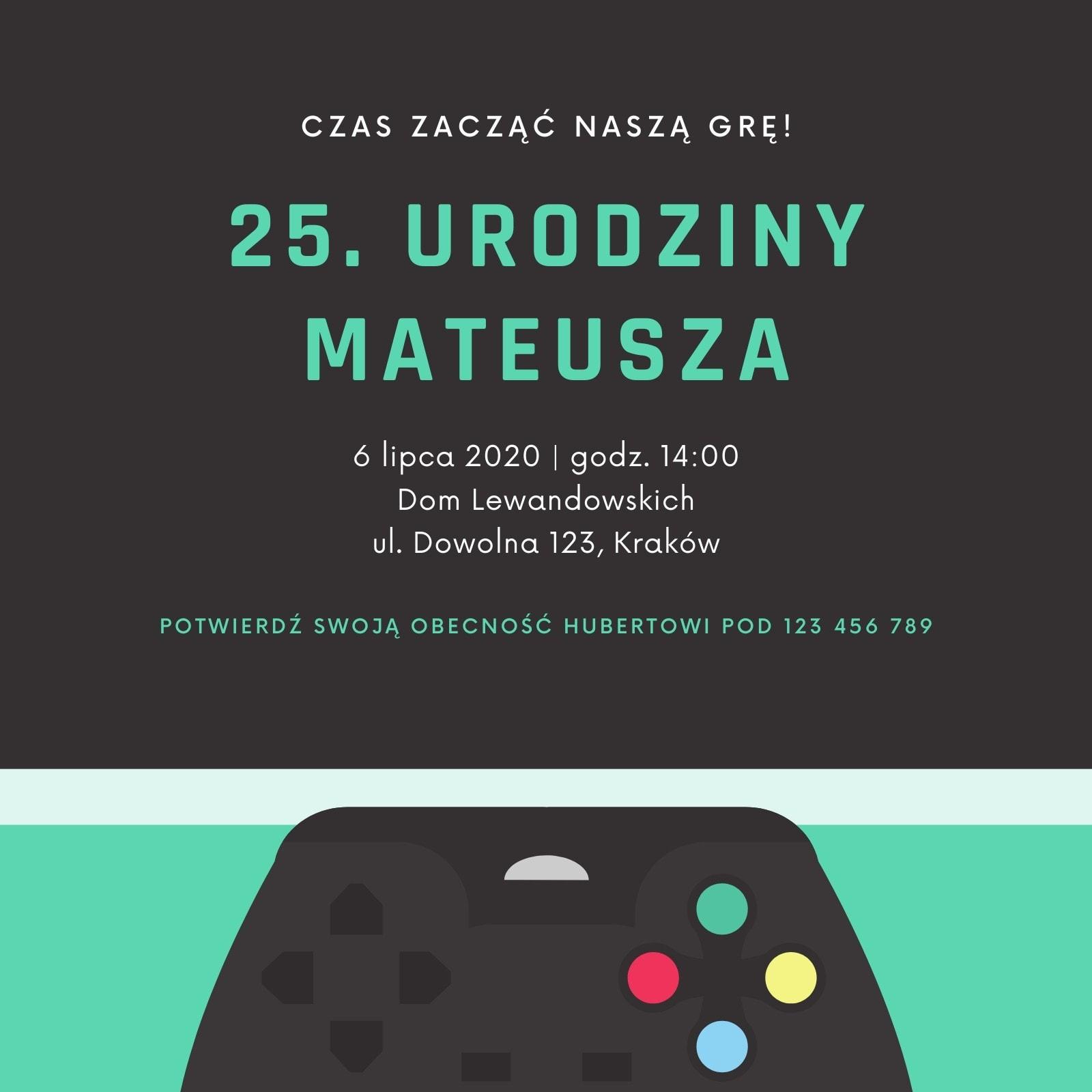 Turkusowe Gra Pad 25. Urodziny Impreza Zaproszenie
