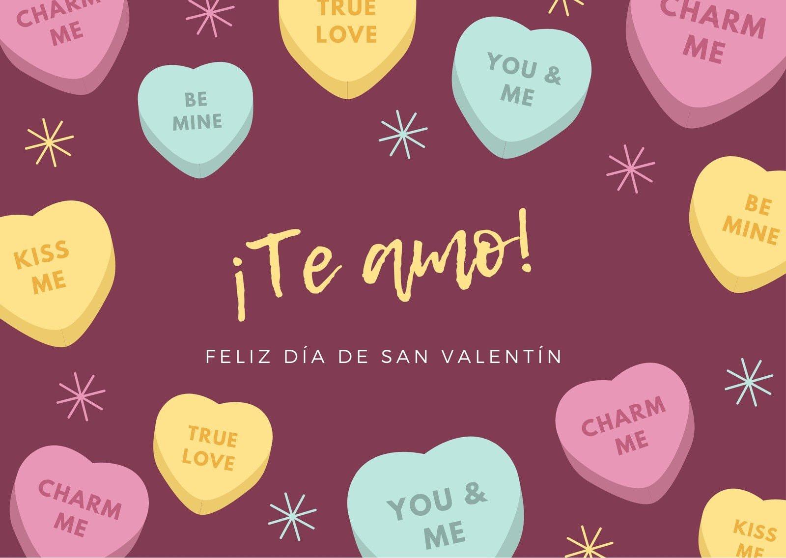 Colorido Dulces Día de San Valentín Tarjeta
