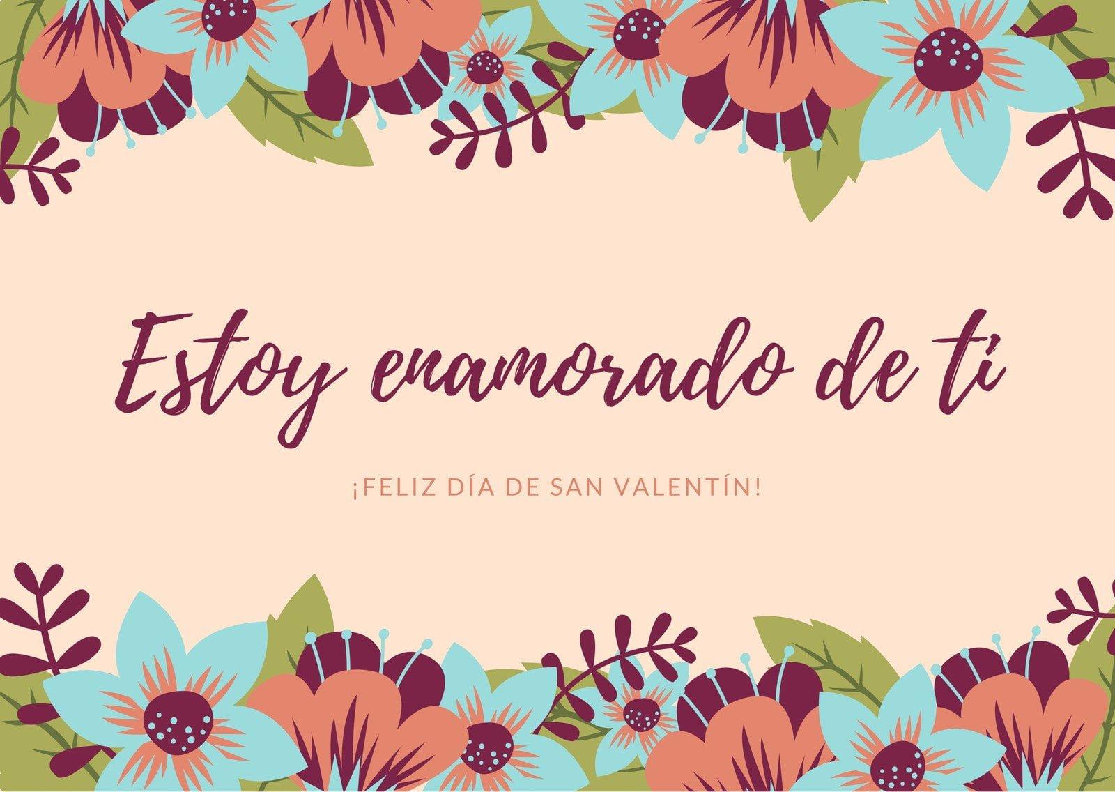 Colorido Floral Día de San Valentín Tarjeta
