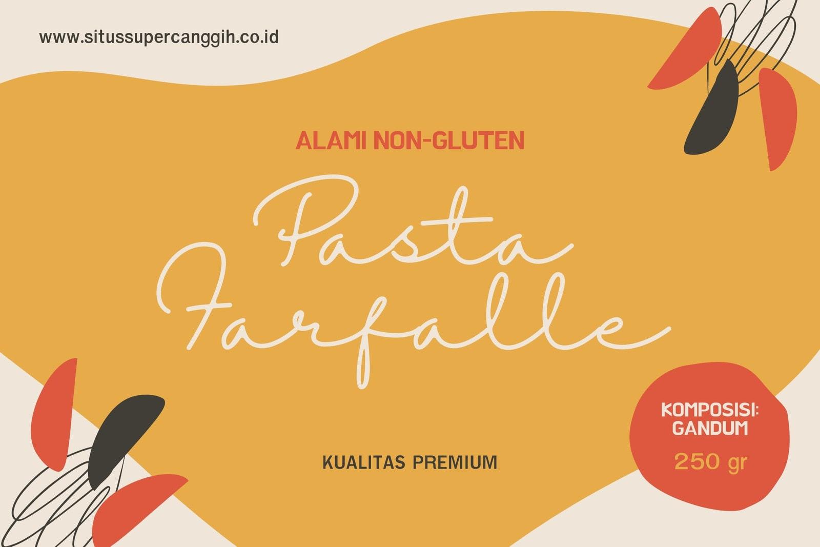 Label Makanan Pasta Farfalle Ilustrasi Oranye dan Putih