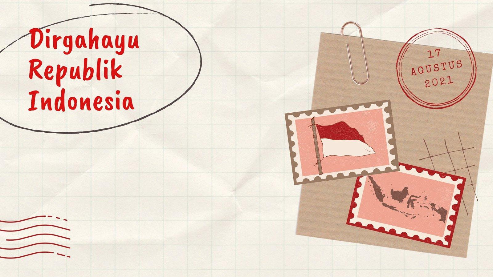 Latar Belakang Zoom Dirgahayu Republik Indonesia Kolase Putih Coklat Merah