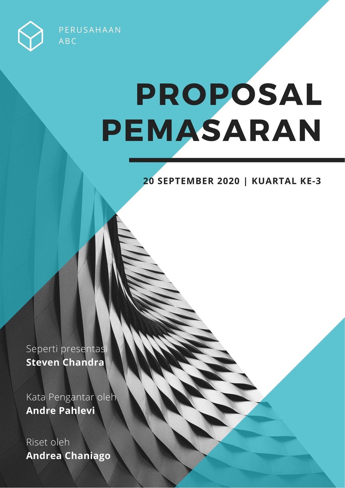 Proposal Pemasaran Bentuk Segitiga Biru dan Putih