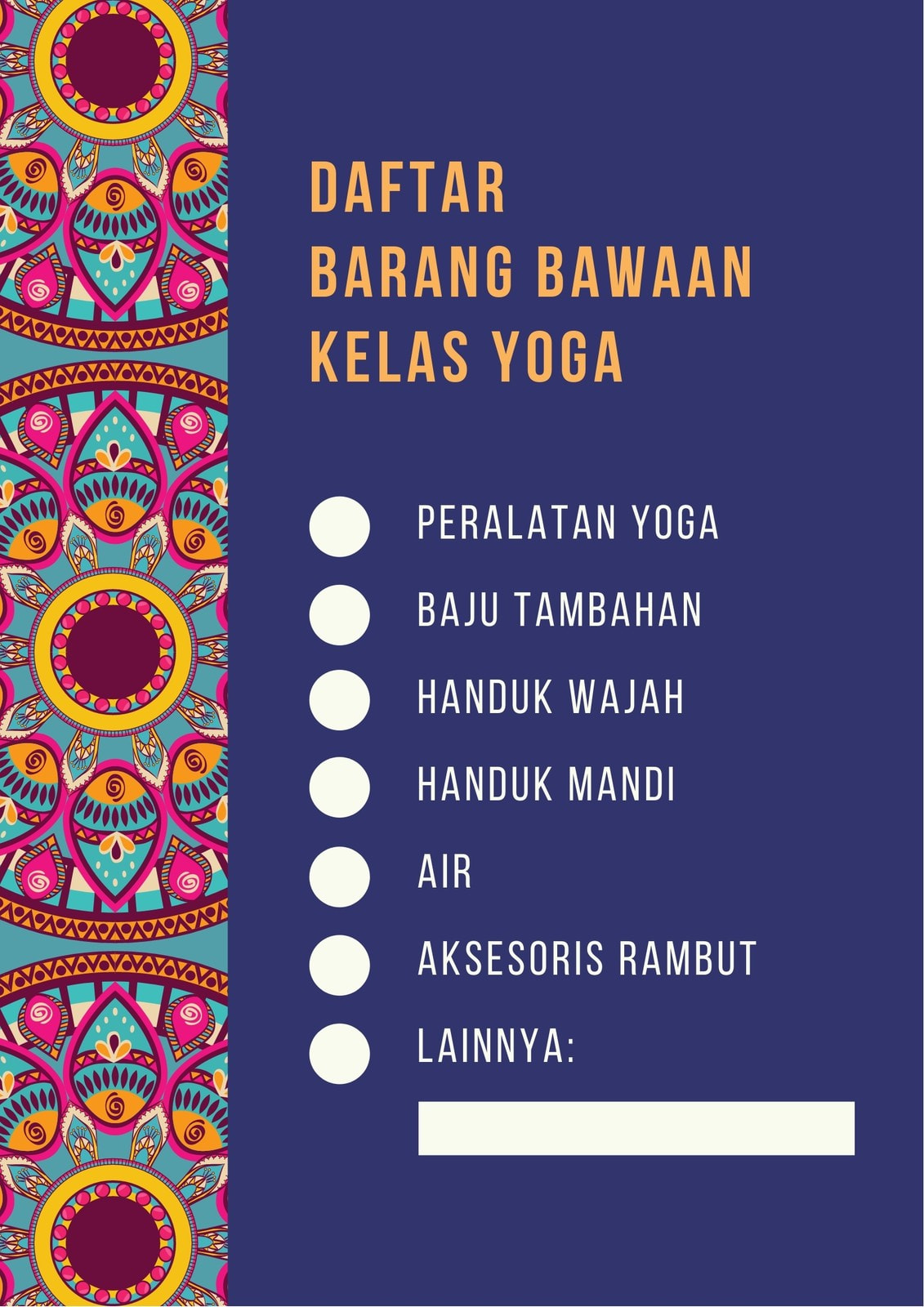 Daftar Periksa Barang Olahraga Yoga Mandala Biru